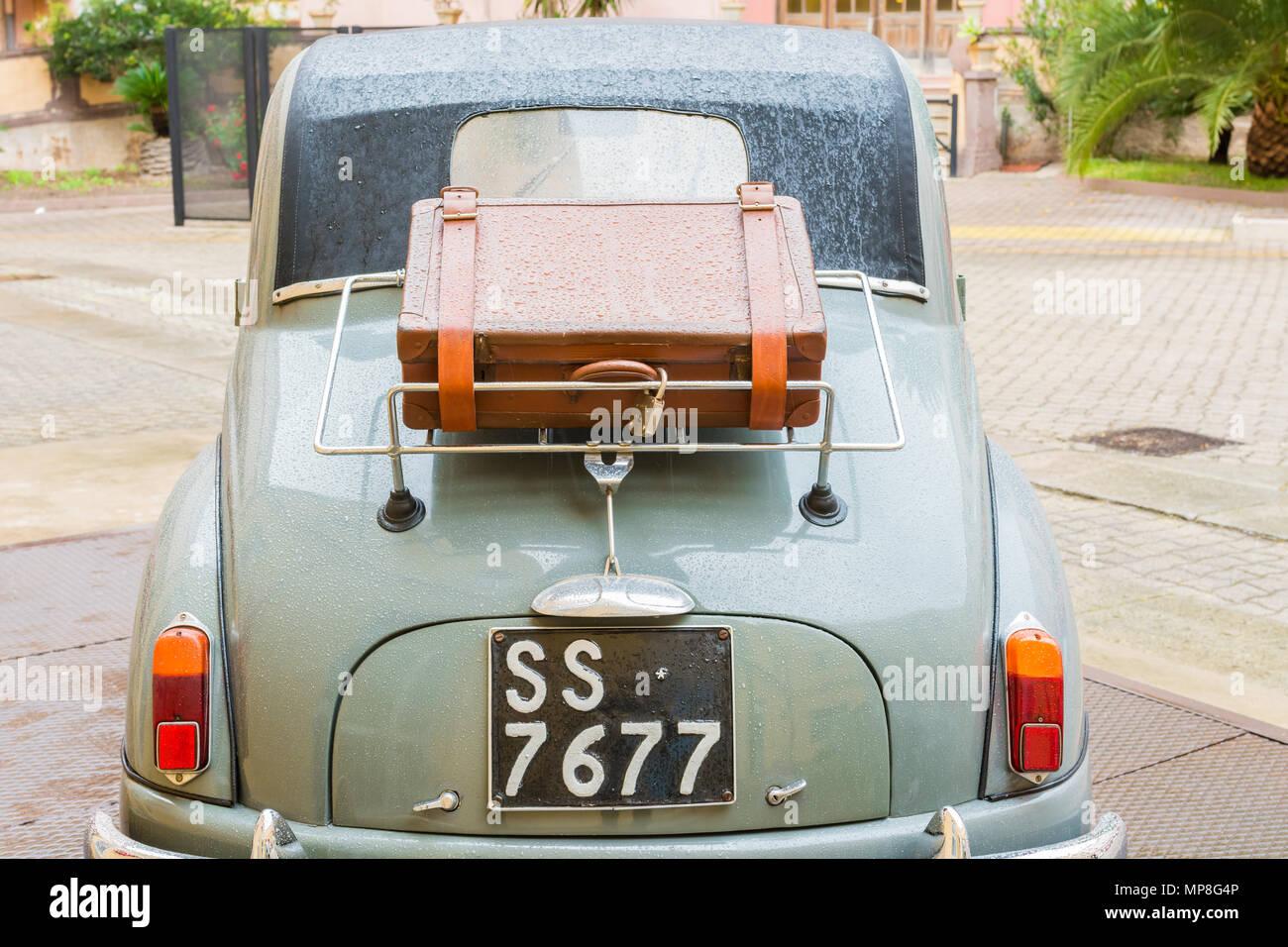 FIAT 500 C 'Topolino' (1950) -  a classic vintage italian car, Cagliari, Sardinia, Italy. - Stock Image