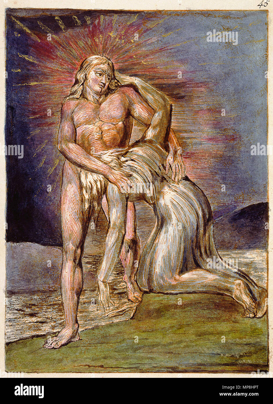 . English: Milton a Poem, copy D, object 45 (Bentley 41, Erdman not numbered, Keynes 41) . 26 March 2007, 09:00:21.   William Blake (1757–1827)   Alternative names W. Blake; Uil'iam Bleik  Description British painter, poet, writer, theologian, collector and engraver  Date of birth/death 28 November 1757 12 August 1827  Location of birth/death Broadwick Street Charing Cross  Work location London  Authority control  : Q41513 VIAF:54144439 ISNI:0000 0001 2096 135X ULAN:500012489 LCCN:n78095331 NLA:35019221 WorldCat     This is a faithful photographic reproduction of a two-dimensional, p Stock Photo