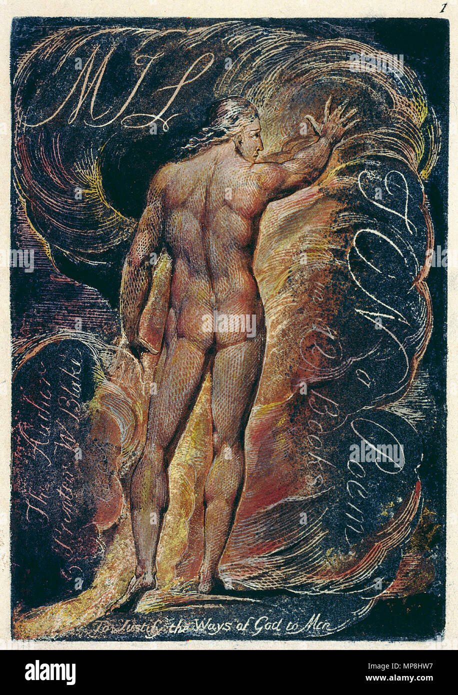 .  English: Milton a Poem copy D 1818 Library of Congress object 1 . circa 1818.    William Blake (1757–1827)   Alternative names W. Blake; Uil'iam Bleik  Description British painter, poet, writer, theologian, collector and engraver  Date of birth/death 28 November 1757 12 August 1827  Location of birth/death Broadwick Street Charing Cross  Work location London  Authority control  : Q41513 VIAF:54144439 ISNI:0000 0001 2096 135X ULAN:500012489 LCCN:n78095331 NLA:35019221 WorldCat 895 Milton a Poem copy D 1818 Library of Congress object 1 Stock Photo