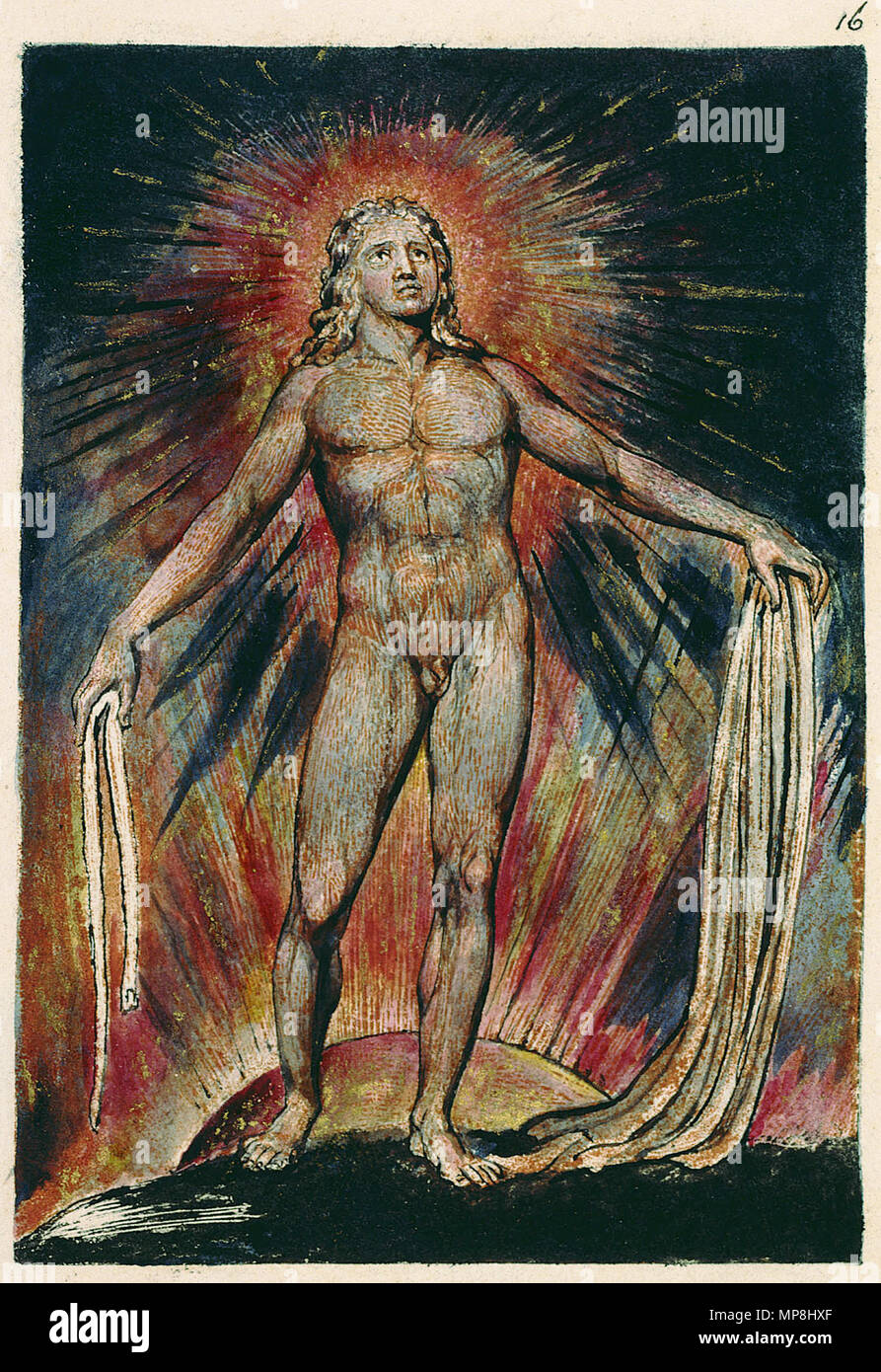 . English: Milton a Poem, copy D, object 16 Bentley 13, Erdman not numbered, Keynes 13 . 26 March 2007, 09:00:50.   William Blake (1757–1827)   Alternative names W. Blake; Uil'iam Bleik  Description British painter, poet, writer, theologian, collector and engraver  Date of birth/death 28 November 1757 12 August 1827  Location of birth/death Broadwick Street Charing Cross  Work location London  Authority control  : Q41513 VIAF:54144439 ISNI:0000 0001 2096 135X ULAN:500012489 LCCN:n78095331 NLA:35019221 WorldCat 895 Milton a Poem, copy D, object 16 Bentley 13, Erdman not numbered, Keyn - Stock Image