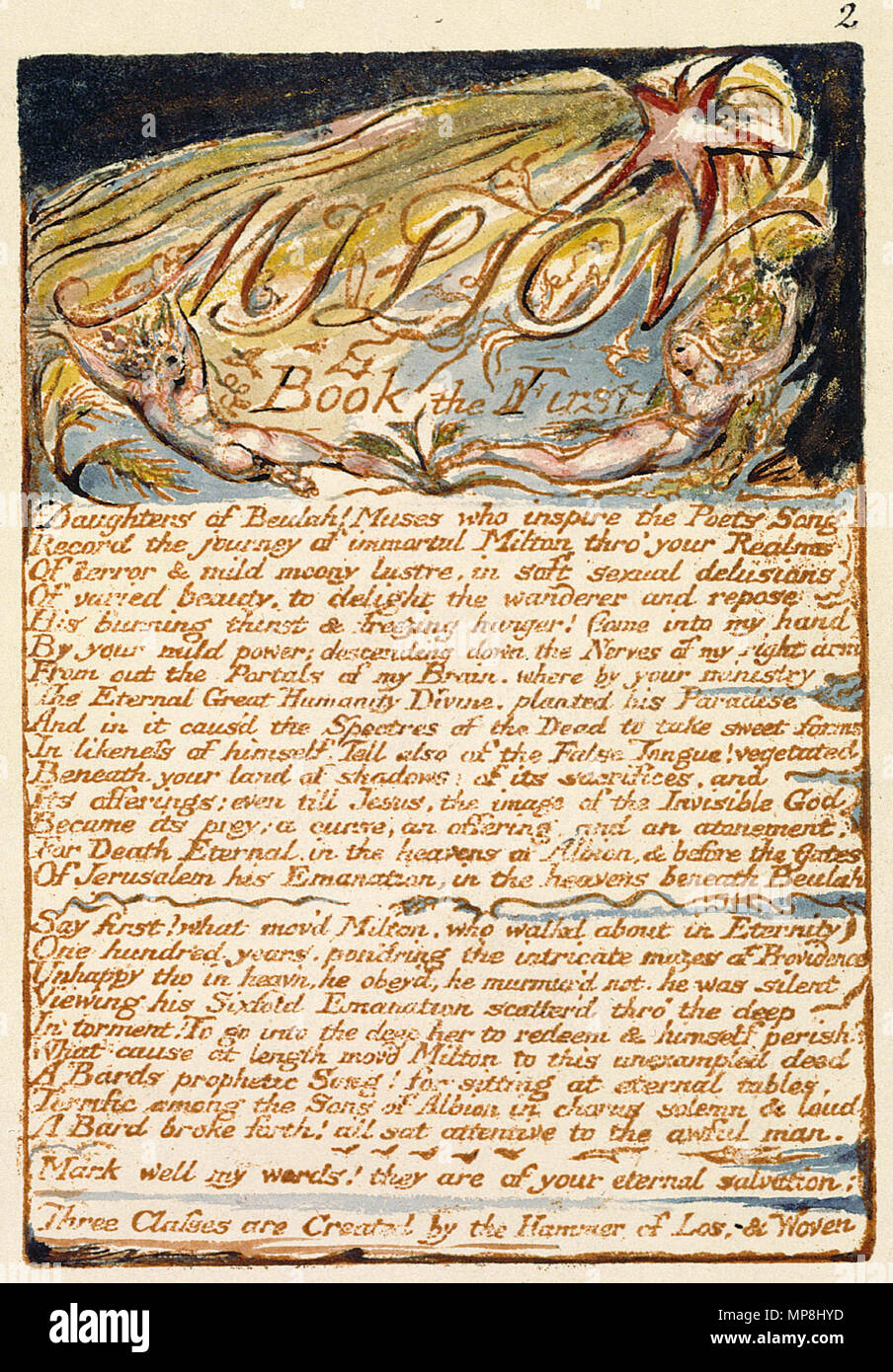 . English: Milton a Poem, copy D, object 2 Bentley 3, Erdman 2, Keynes 3) . 26 March 2007.   William Blake (1757–1827)   Alternative names W. Blake; Uil'iam Bleik  Description British painter, poet, writer, theologian, collector and engraver  Date of birth/death 28 November 1757 12 August 1827  Location of birth/death Broadwick Street Charing Cross  Work location London  Authority control  : Q41513 VIAF:54144439 ISNI:0000 0001 2096 135X ULAN:500012489 LCCN:n78095331 NLA:35019221 WorldCat     This is a faithful photographic reproduction of a two-dimensional, public domain work of art. Stock Photo