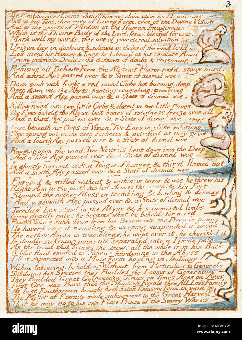 . English: Milton a Poem, copy D, object 3 Bentley b, Erdman 3, Keynes b) . 26 March 2007, 09:01:17.   William Blake (1757–1827)   Alternative names W. Blake; Uil'iam Bleik  Description British painter, poet, writer, theologian, collector and engraver  Date of birth/death 28 November 1757 12 August 1827  Location of birth/death Broadwick Street Charing Cross  Work location London  Authority control  : Q41513 VIAF:54144439 ISNI:0000 0001 2096 135X ULAN:500012489 LCCN:n78095331 NLA:35019221 WorldCat     This is a faithful photographic reproduction of a two-dimensional, public domain wo - Stock Image