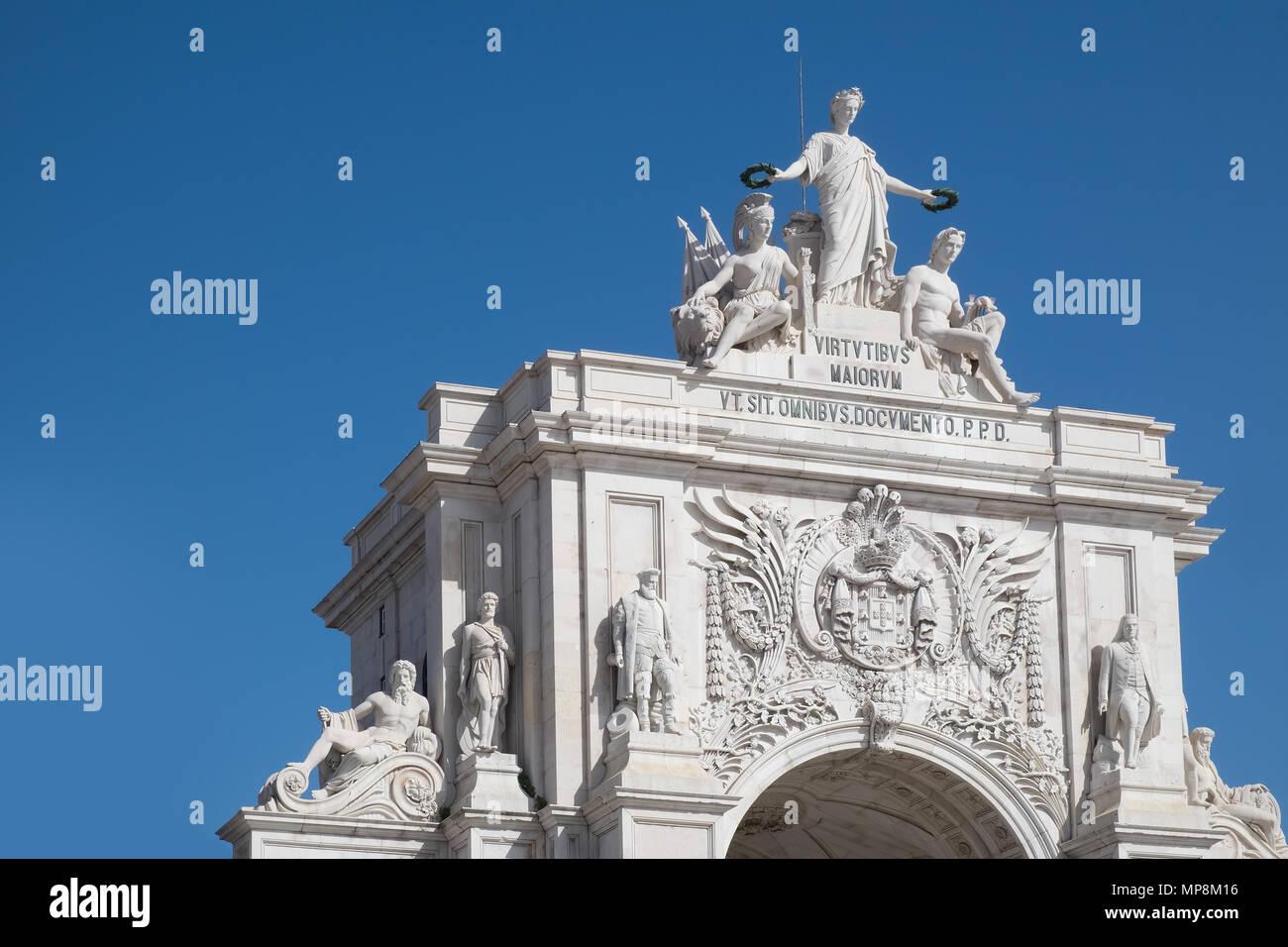 Rua Augusta Arch, Lisbon. The arch overlooks the Praca do Comercio - Stock Image