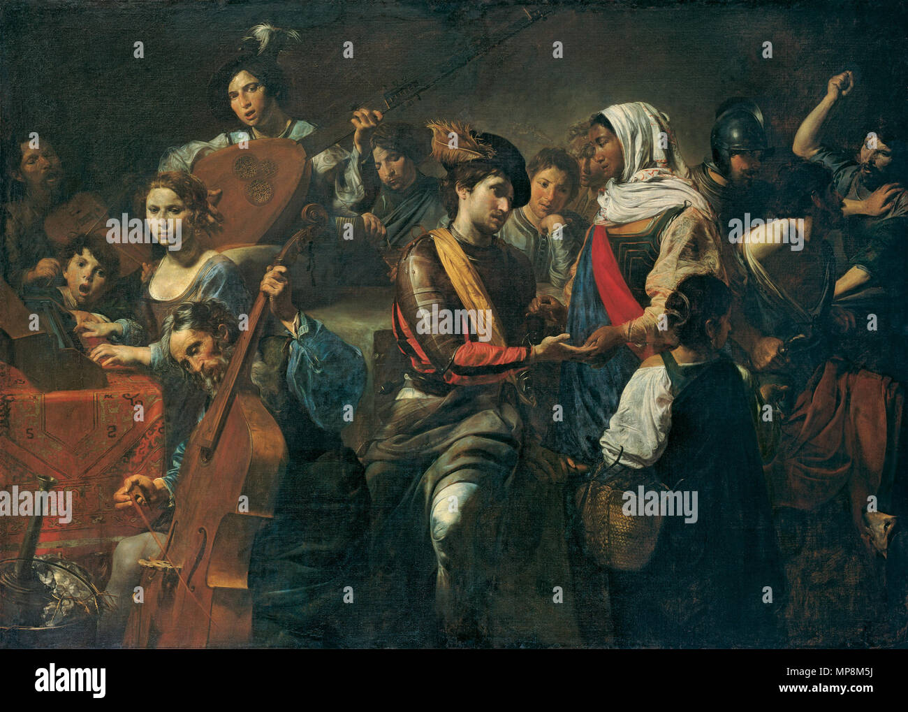 """01    . English: Late work commissioned by a Sicilian aristocrat living in Madrid, Fabrizio Valguarnera, when on a visit to Rome in 1631: a """"picture of people featuring a gypsy, with soldiers and other women playing instruments"""". Strong contrasts of light and shade, known as chiaroscuro, are modelled on Michelangelo Merisi, known as Caravaggio (1571–1610). As in this painting, Valentin's work is based on the secular scenes of Caravaggio's early period, but he combined them with the dark, highly contrasting colors of the master's late style . 1631. Valentin de Boulogne 1218 VALENTIN DE BOULOGNE - Stock Image"""