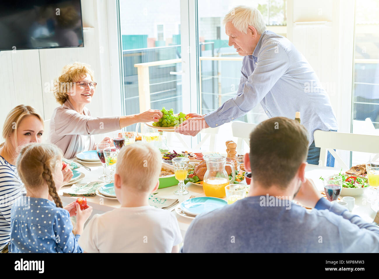 Family Dinner at Home - Stock Image