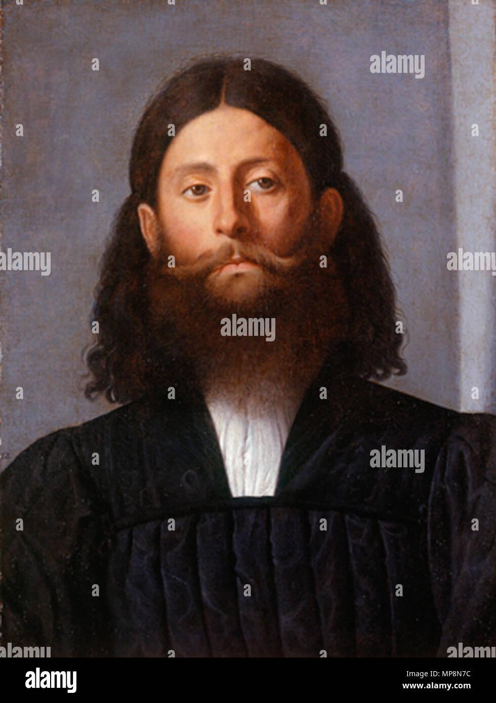 . Portrait of a bearded man (Giorgione Barbarelli) . circa 1512-15.   Lorenzo Lotto (1480–)   Description Italian painter and fresco painter  Date of birth/death circa 1480 1556 / 1557  Location of birth/death Venice Loreto  Work location Recanati (1506-1508), Venice (1500), Treviso (1503-1506), Rome (1509-1512), Bergamo (1513-1525), Venice (1513-1517), Treviso (1525-1527), Venice (1527-1529), Loreto, Venice (1529-1539), Treviso (1540-1549), Ancona (1549), Loreto (1556)  Authority control  : Q310973 VIAF:22165049 ISNI:0000 0001 2320 0265 ULAN:500015631 LCCN:n50042418 NLA:35692463 Worl - Stock Image