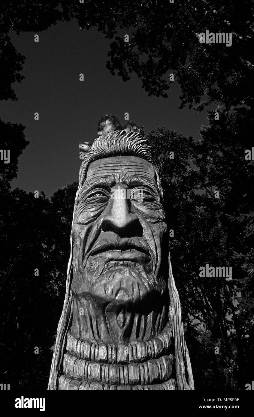 Chief Kno-Tah Native American sculpture, Artist Peter Toth - Stock Image