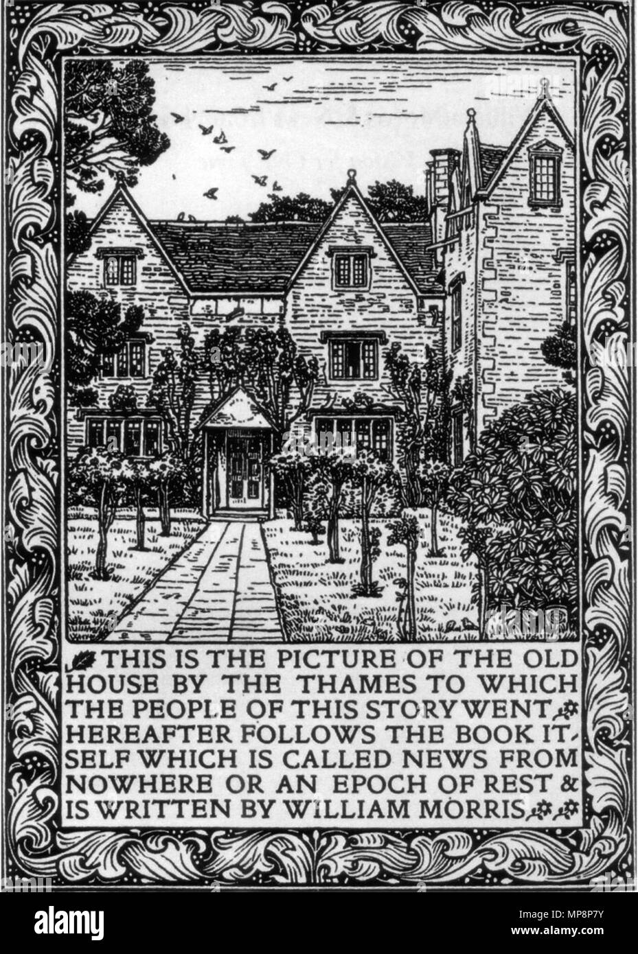 . English: Kelmscott Manor depicted in the frontispiece to the 1893 Kelmscott Press edition of William Morris's News from Nowhere . 1893.   William Morris (1834–1896)   Alternative names William M. Morris  Description British painter, designer, architect and writer  Date of birth/death 24 March 1834 3 October 1896  Location of birth/death Walthamstow (Essex) London-Hammersmith  Work location Deutsch: Südengland English: Southern England  Authority control  : Q182589 VIAF:22146194 ISNI:0000 0001 2123 5747 ULAN:500030629 LCCN:n78095326 NLA:35363838 WorldCat 762 Kelmscott Manor News fro Stock Photo