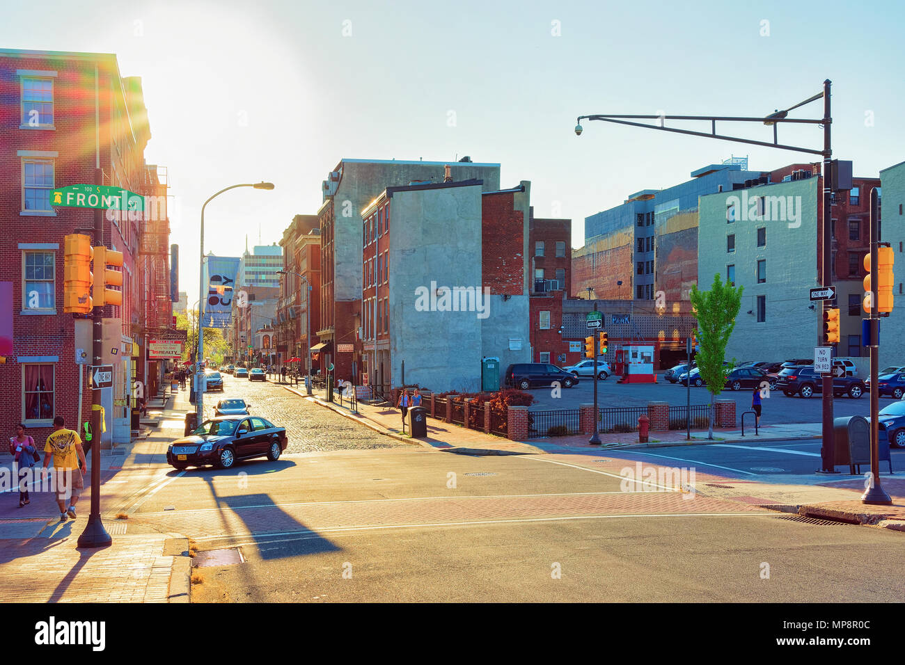 Philadelphia, USA - May 5, 2015: Sunset on Chestnut Street in Philadelphia, Pennsylvania, USA. It is central business district in Philadelphia Stock Photo