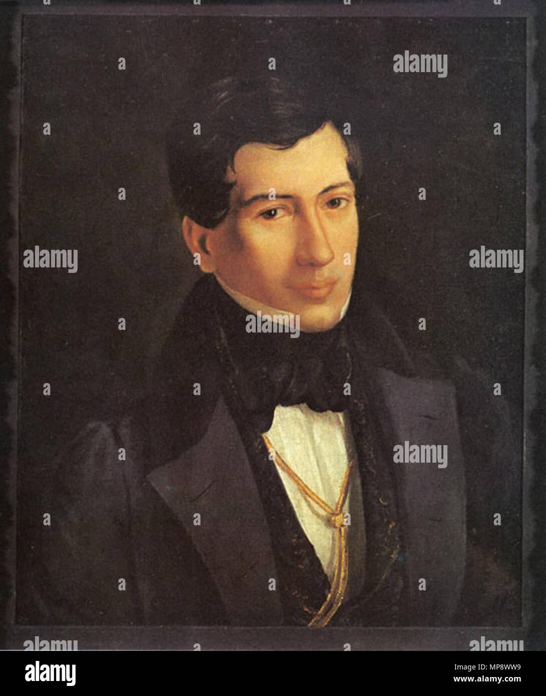 Portrait of Nestor Kukolnik  1830s.   778 Kukolnik by Mokritski - Stock Image