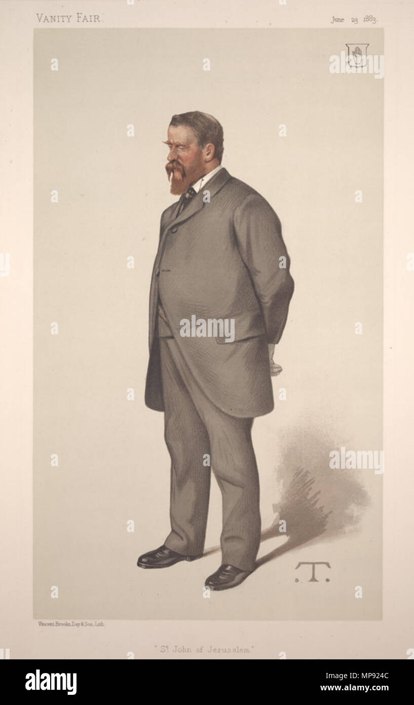 . Statesmen No.425: Caricature of Sir EAH Lechmere Bt MP. Caption reads: 'St John of Jerusalem' . 23 June 1883. 'T'   Théobald Chartran  (1849–1907)     Alternative names 'T'  Description French painter  Date of birth/death 20 July 1849 16 July 1907  Location of birth/death Besançon Neuilly-sur-Seine  Work location London France  Authority control  : Q922670 VIAF: 32266886 ISNI: 0000 0000 6661 5519 ULAN: 500015217 LCCN: nr91029509 GND: 1038763061 WorldCat 800 Edmund Anthony Harley Lechmere, Vanity Fair, 1883-06-23 - Stock Image