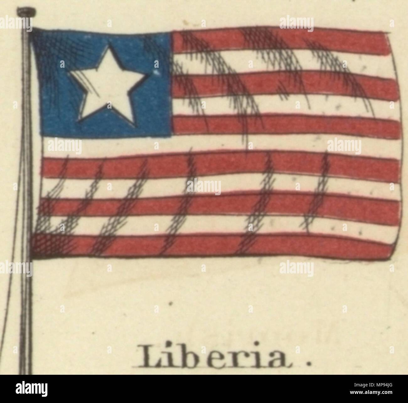 English Liberia Johnsons New Chart Of National Emblems 1868g