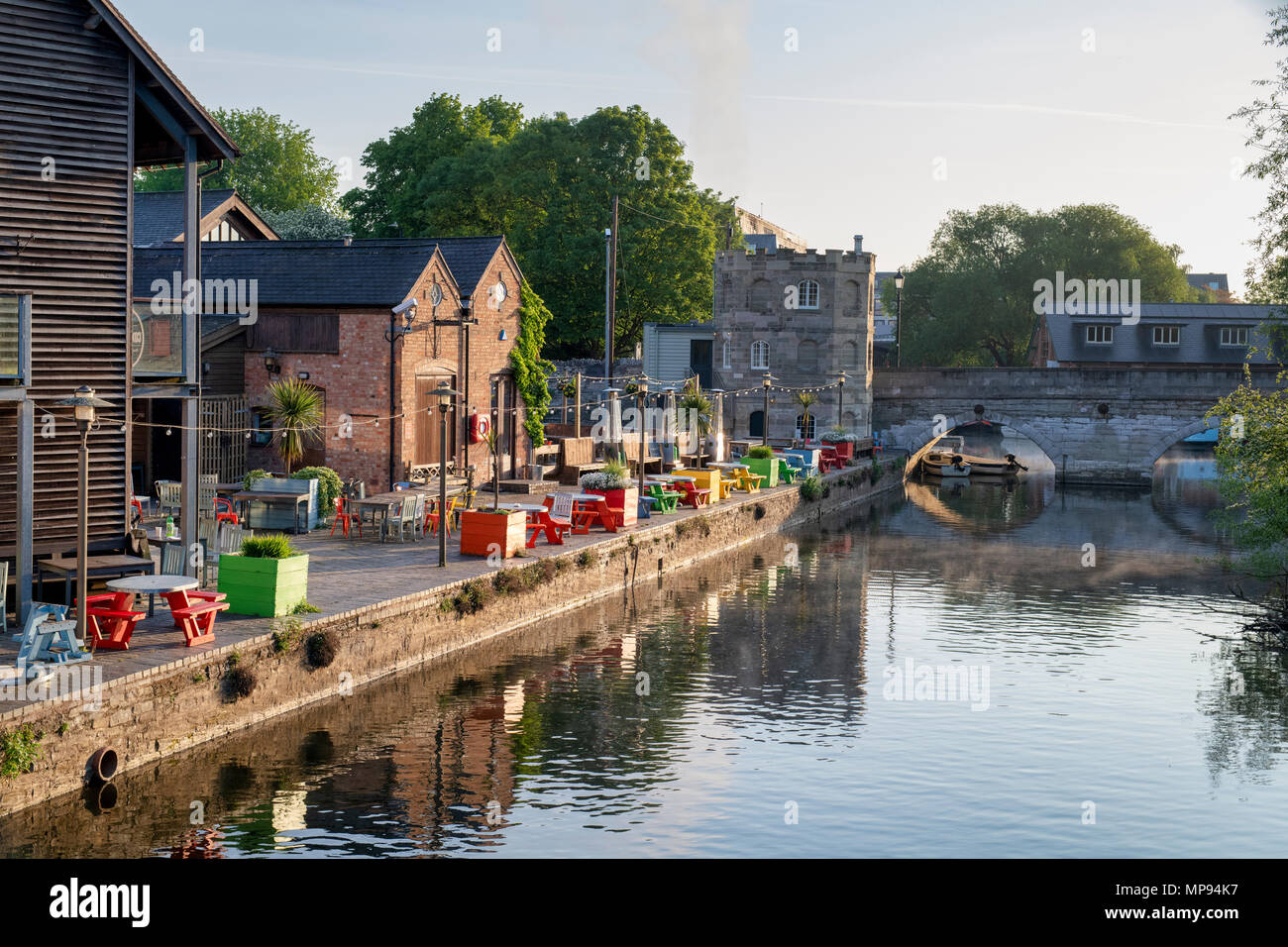 Stratford Upon Avon in the early morning spring sunlight. Stratford Upon Avon, Warwickshire, England - Stock Image