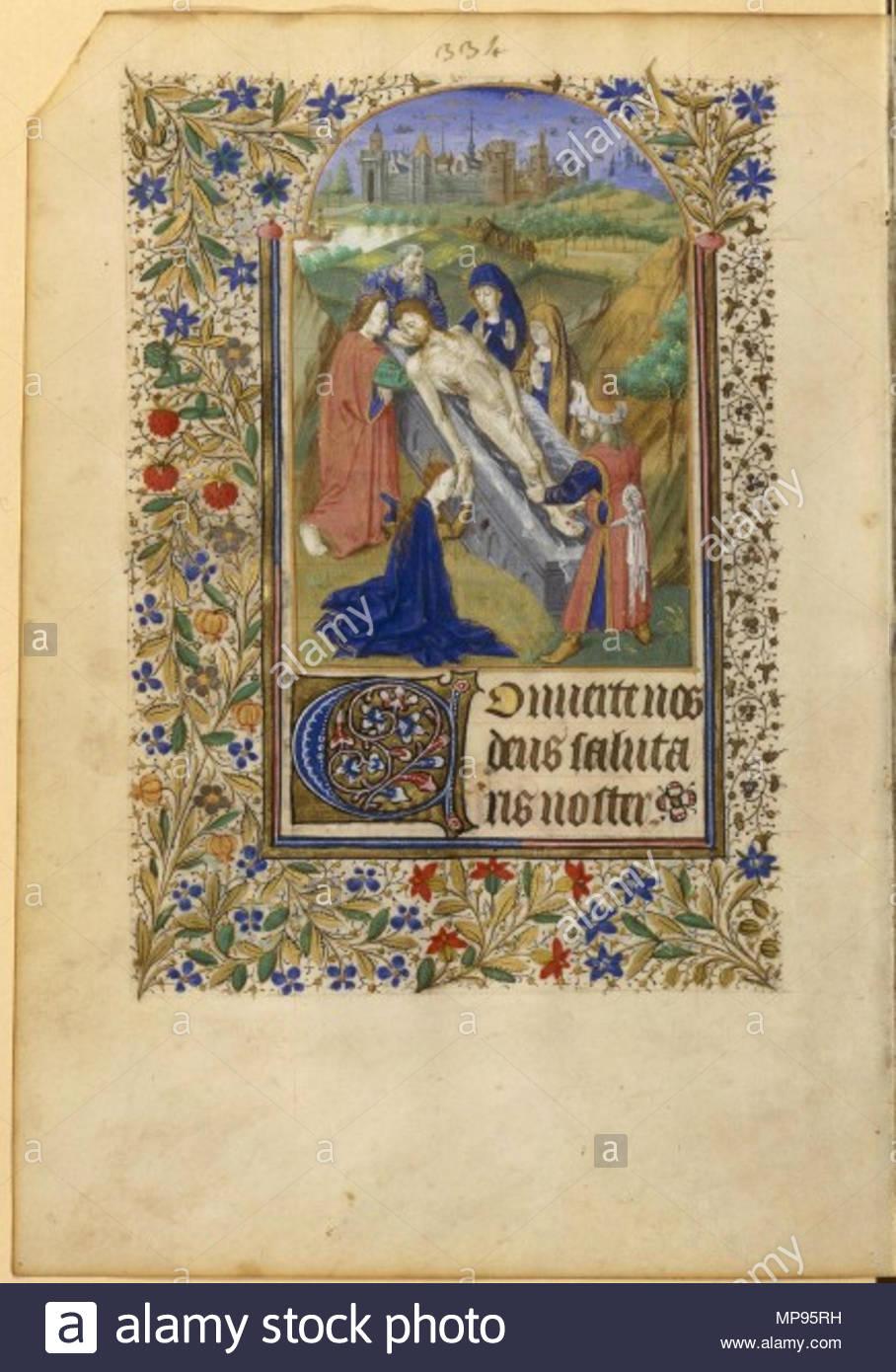 814 Livre d'heures à l'usage d'Angers - BNF NAL3211 p334 (mise au tombeau) Stock Photo