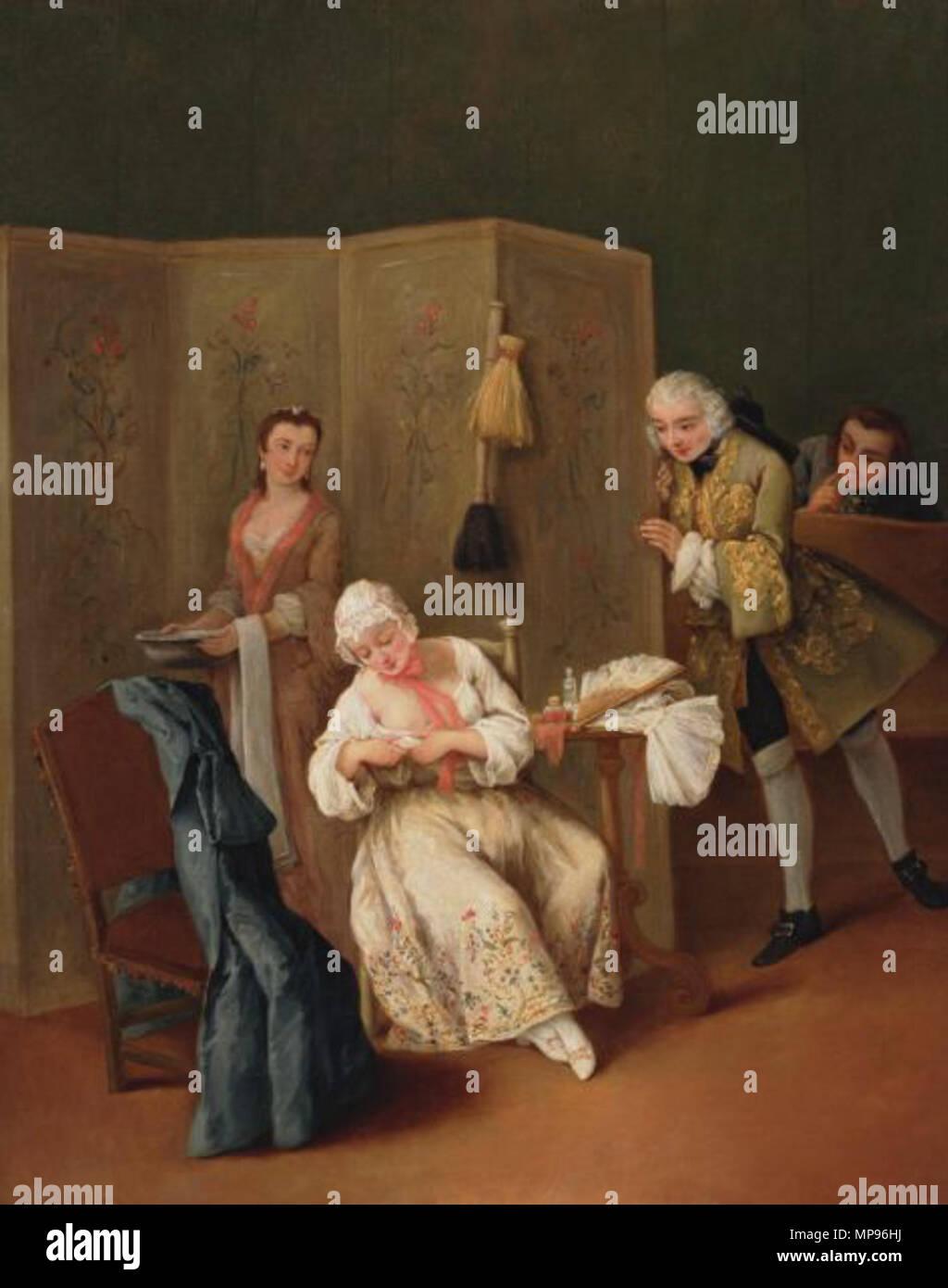 The Indiscreet Gentleman  circa 1740.   817 Longhi The Indiscreet Gentleman - Stock Image