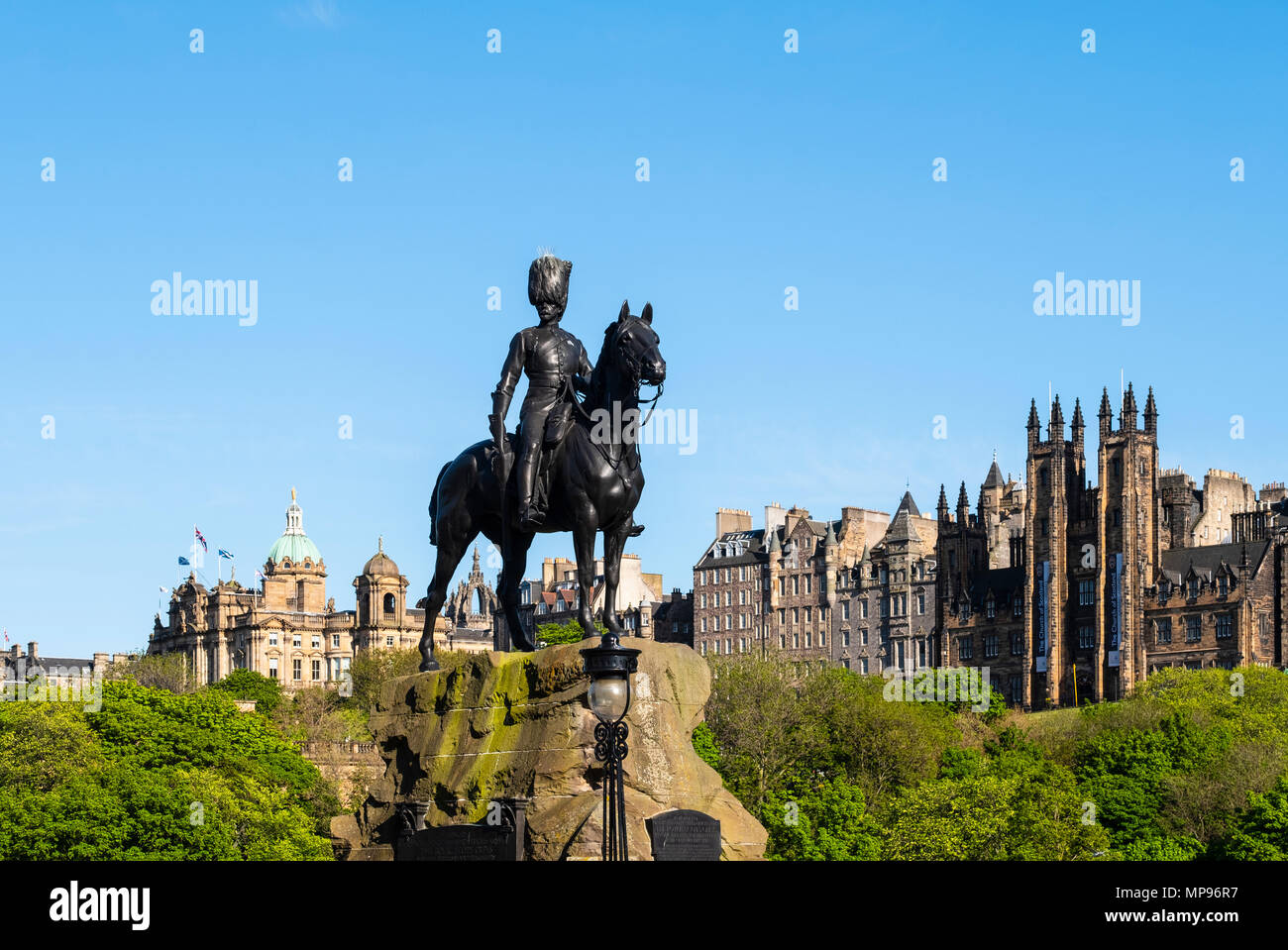 The Royal Scots Greys Monument on Princes Street in Edinburgh, Scotland UK - Stock Image