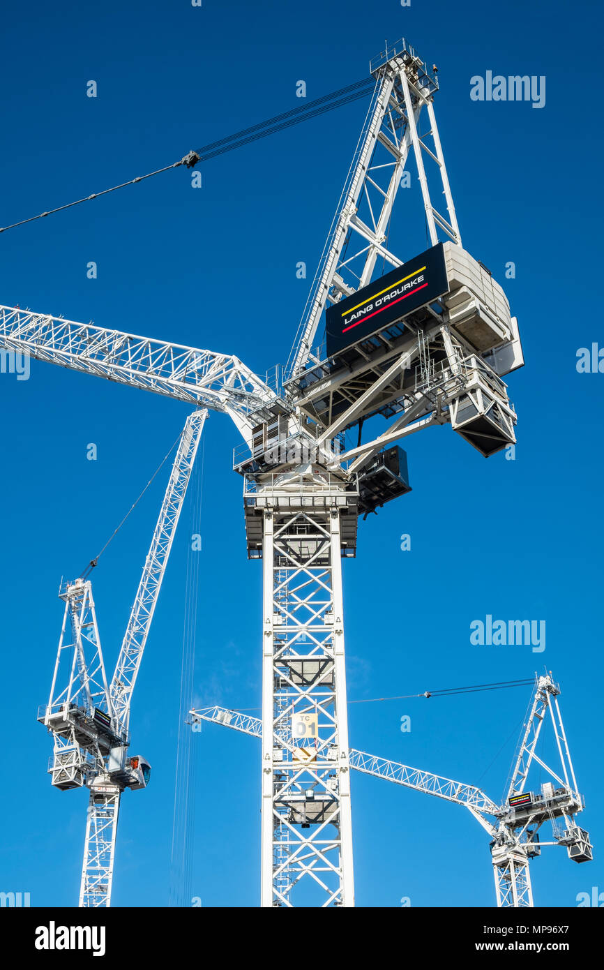 Tower cranes at construction Site of new St James centre project in central Edinburgh, Scotland, United Kingdom, UK - Stock Image