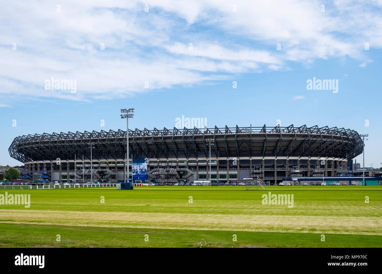 View of Murrayfield Stadium home of Scottish rugby union in Edinburgh, Scotland, United Kingdom, UK - Stock Image