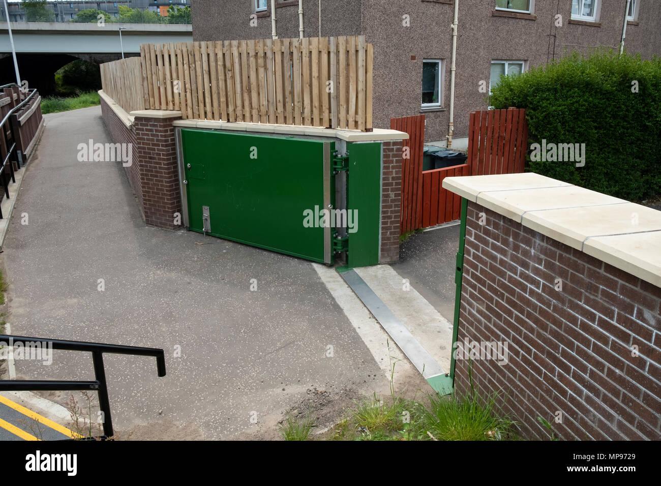 New flood prevention scheme beside Water of Leith at Murrayfield in Edinburgh, Scotland, United Kingdom, UK - Stock Image