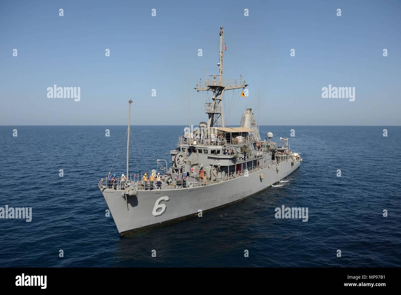 The U.S. Navy Avenger-class mine countermeasures ship USS Devastator steams underway November 6, 2014 in the Gulf of Oman.   (photo by Ace Rheaume via Planetpix) Stock Photo