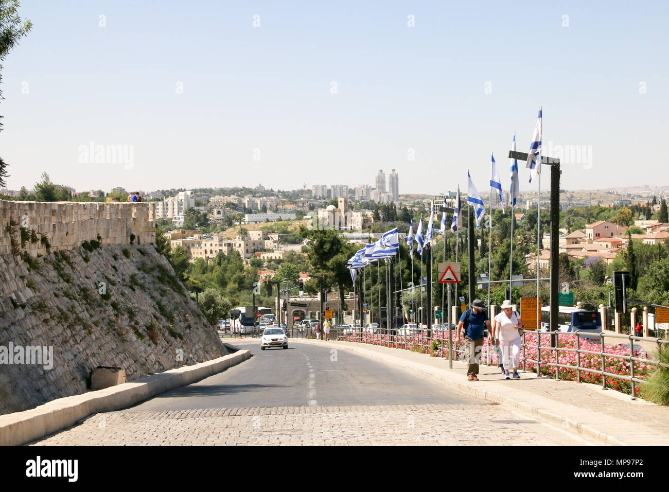 Jerusalem, Israel - May 16, 2018: View of the access road to the Jaffa Gate in Jerusalem, Israel. - Stock Image