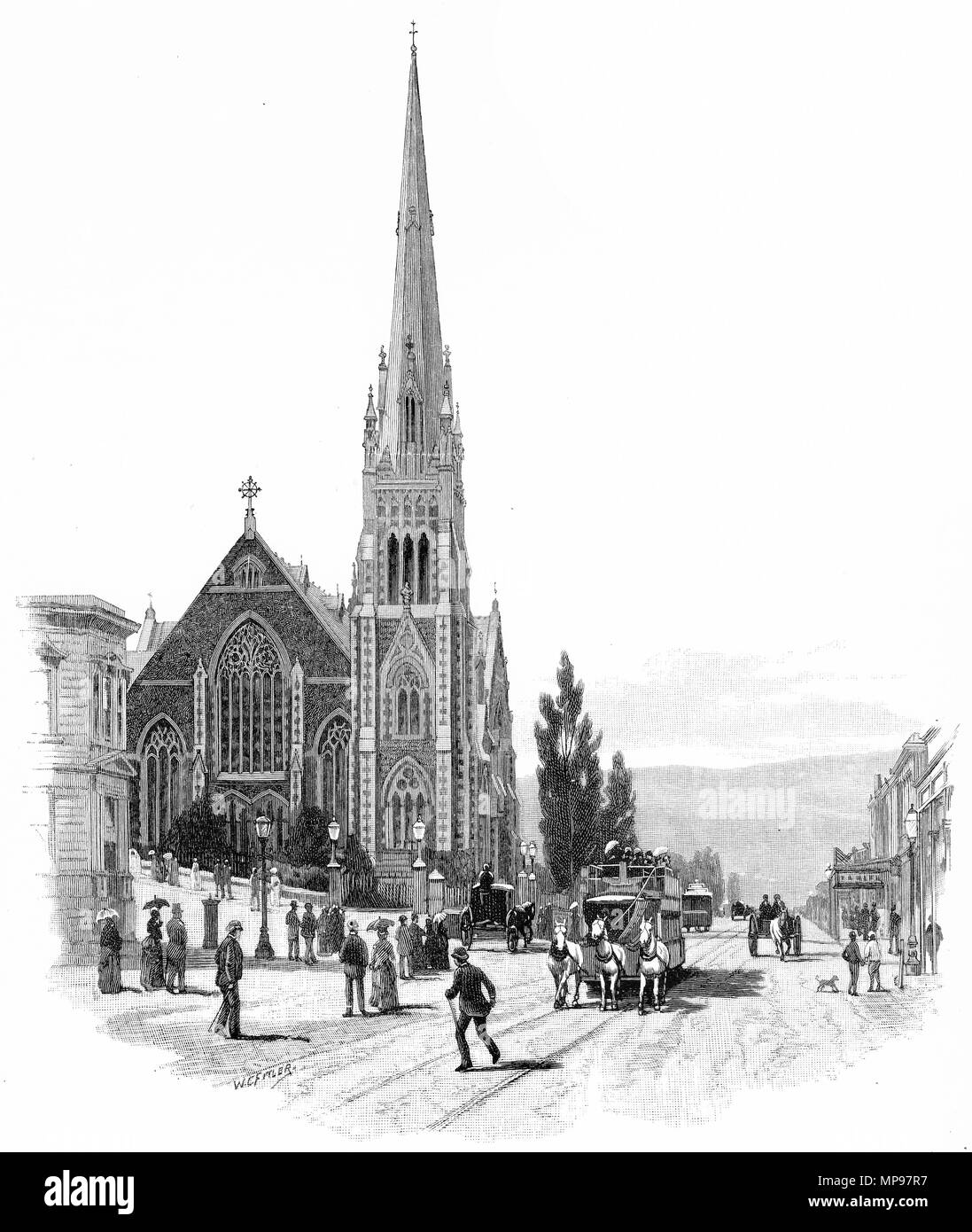 Engraving of the Knox Presbyterian Church in the city of Dunedin circa 1880, New Zealand. From the Picturesque Atlas of Australasia Vol 3, 1886 - Stock Image