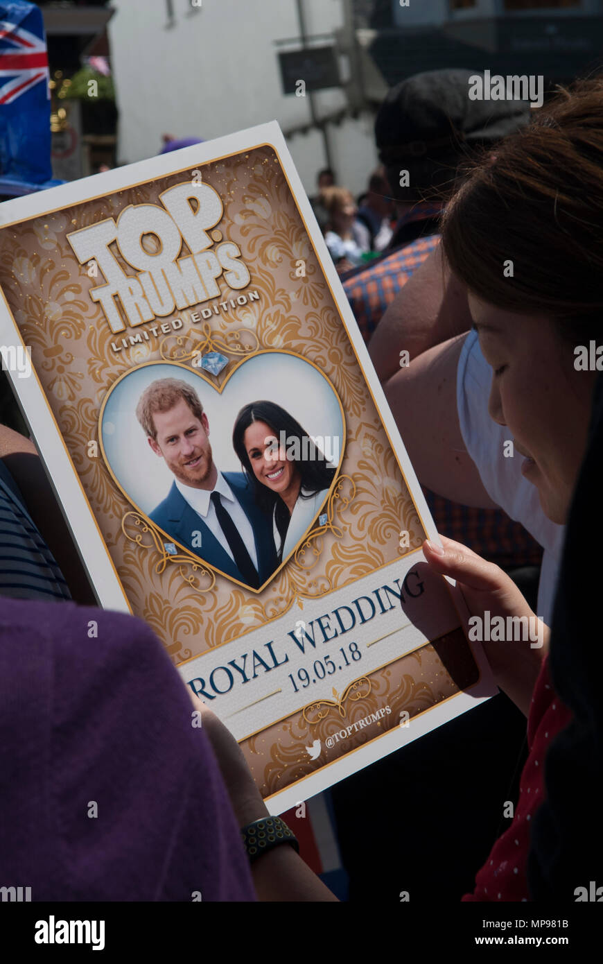 Royal wedding 19 May 2018 Prince Harry Meghan Markle  the Duke and Duchess of Sussex poster Windsor . England 1980s HOMER SYKES Stock Photo