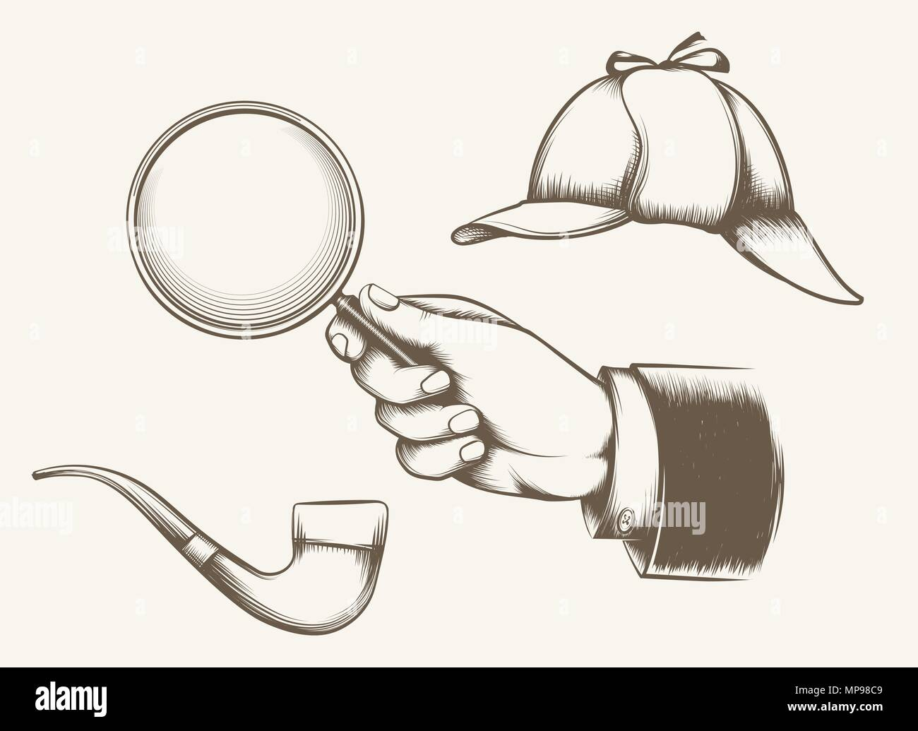 Vintage detective elements. Hand with magnifying glass, smoking pipe and hat inspired by sir Arthur Conan Doyle novels hand drawn vector illustration Stock Vector