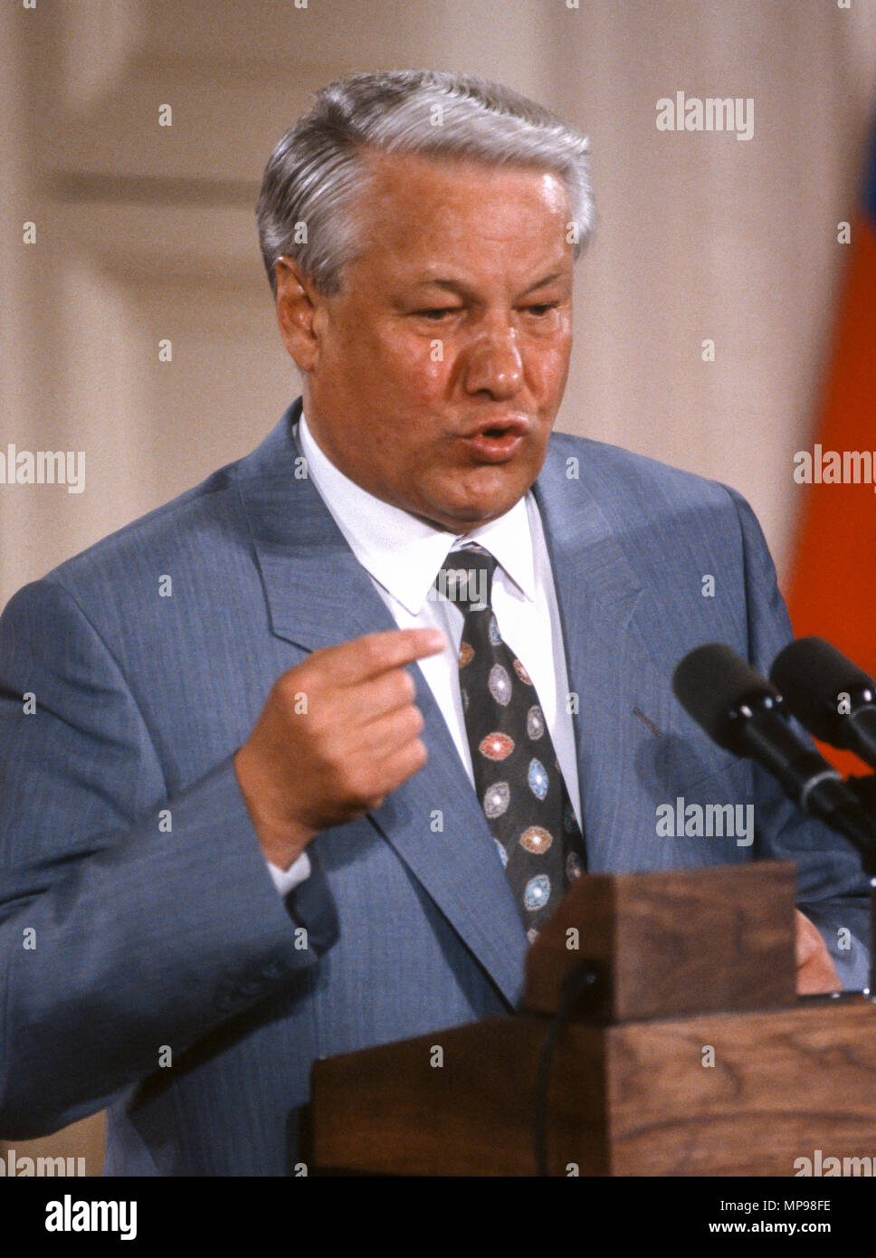 WASHINGTON, DC, USA - JUNE 17, 1992: Russia President Boris Yeltin speaking at news conference in East Room of White House during summit with President George H.W. Bush. - Stock Image