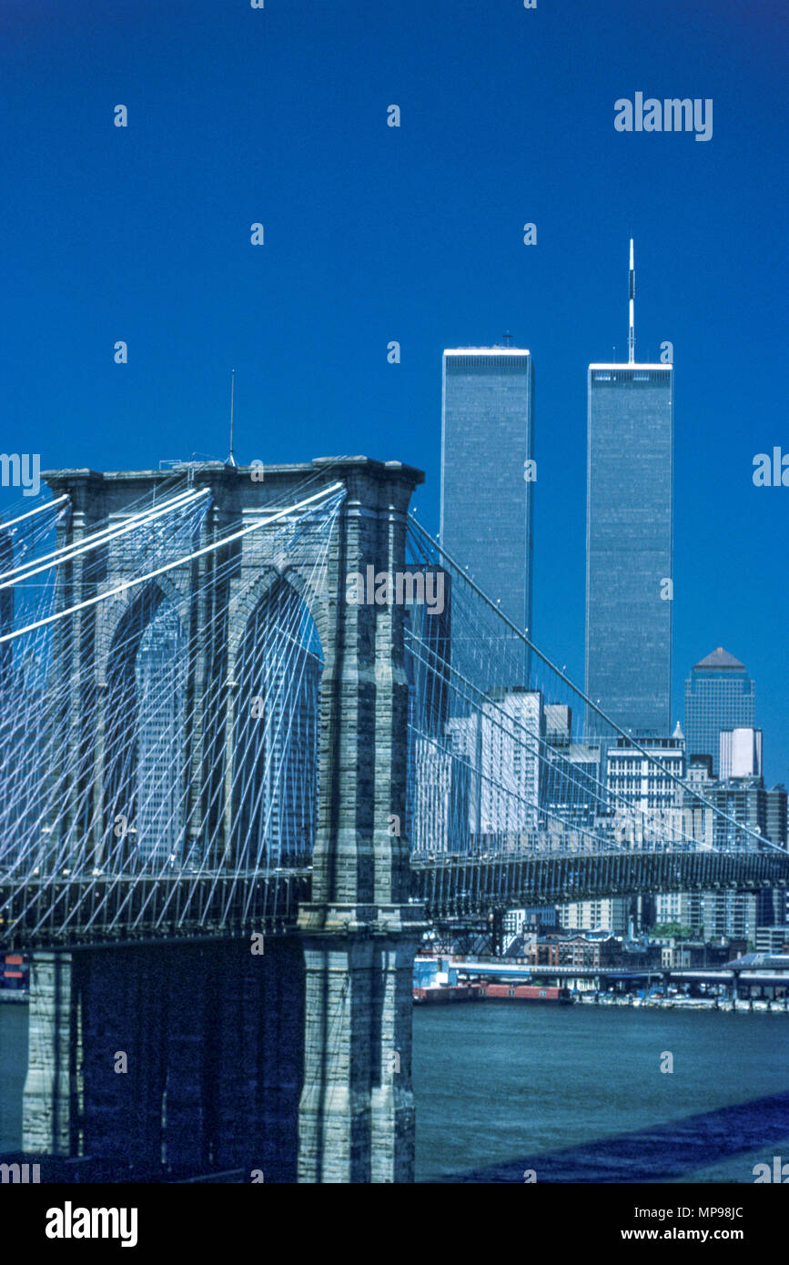 1988 HISTORICAL TWIN TOWERS BROOKLYN BRIDGE DOWNTOWN