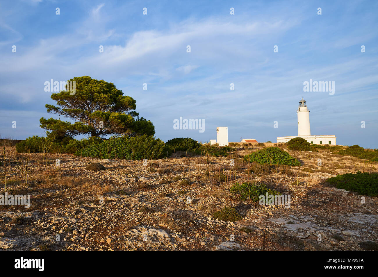 Scenic view of La Mola lighthouse and surroundings near El Pilar de la Mola town in Formentera (Balearic Islands, Spain) - Stock Image