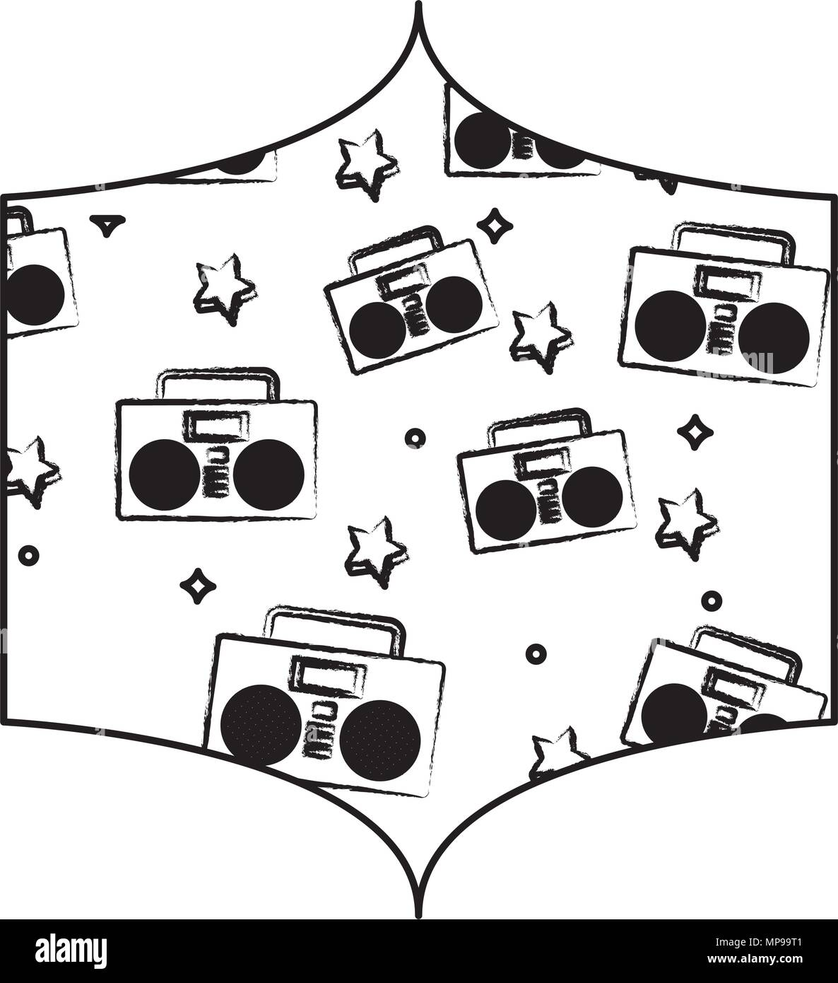 decorative frame with Boombox stereo and stars pattern over white background, vector illustration - Stock Image