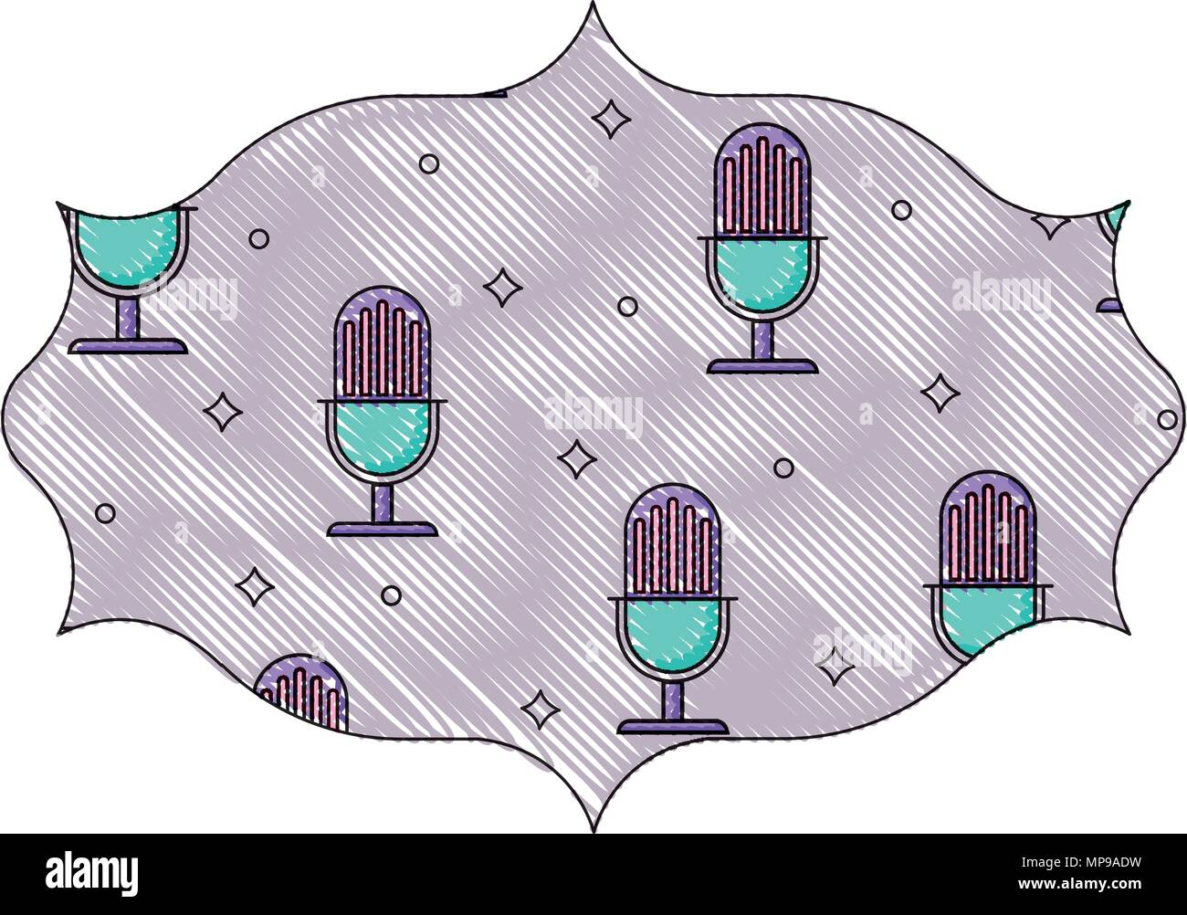 arabic frame with retro microphone pattern, vector illustration - Stock Image