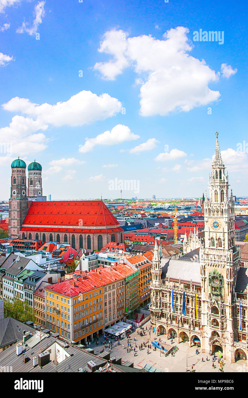 Frauenkirche Church and New City Hall in Murich, Germany Stock Photo