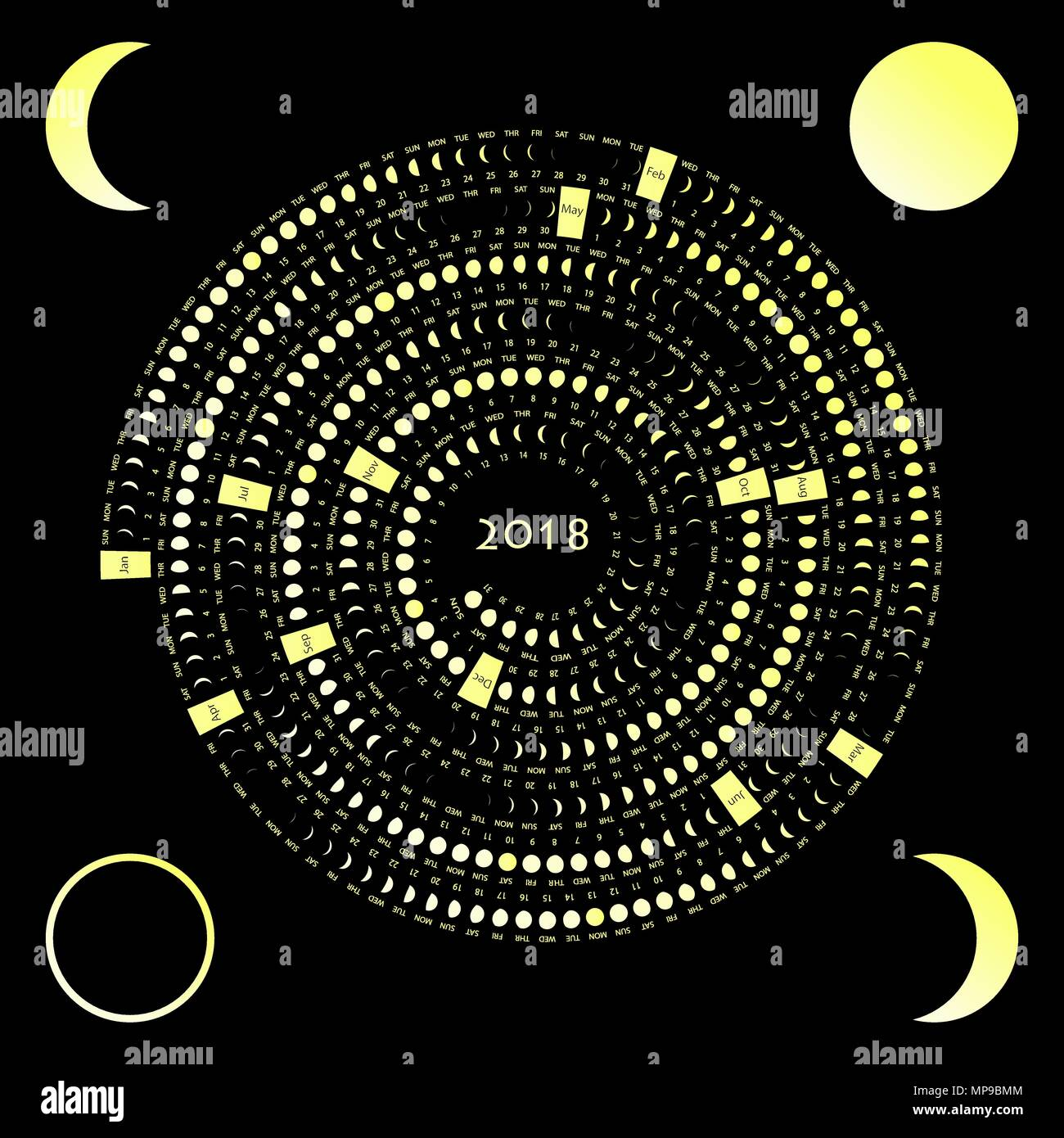 Weekend Calendar Stock Vector Images Alamy Moon Phase Diagram Printable Chart Lunar On A Dark Background 2018