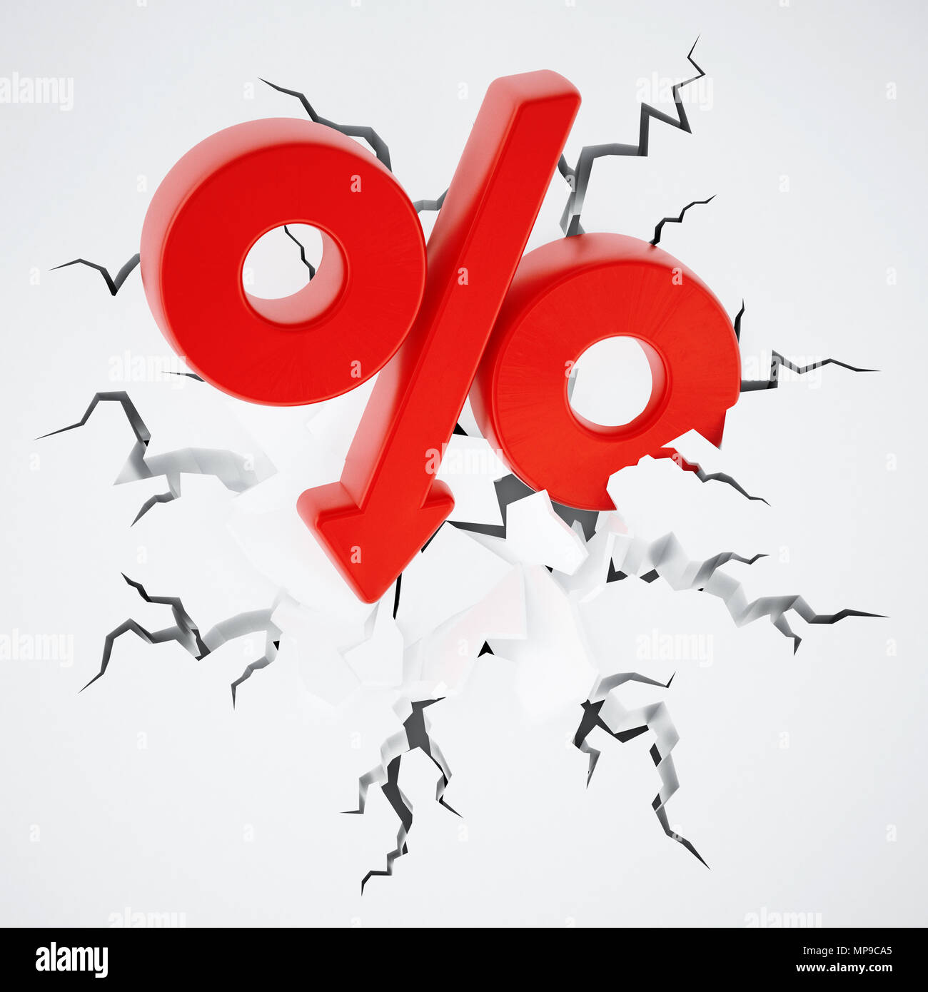 Percentage symbol with arrow on cracked ground. 3D illustration. - Stock Image