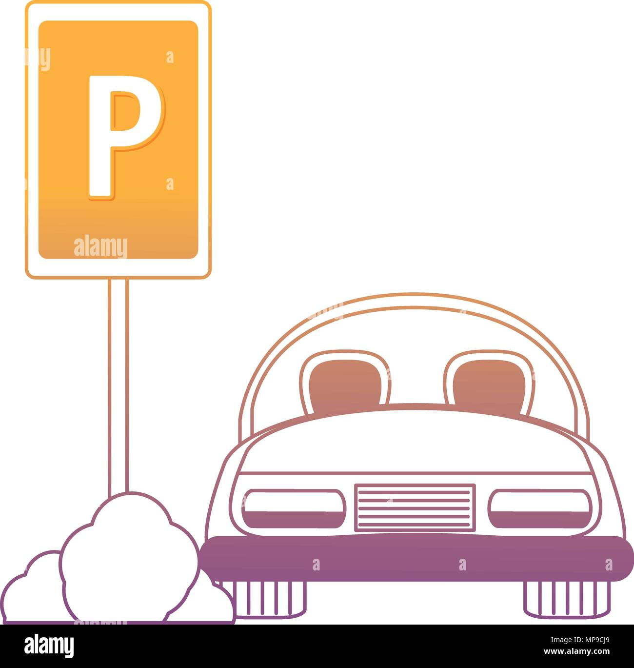 parked car in parking zone over white background, vector illustration - Stock Image