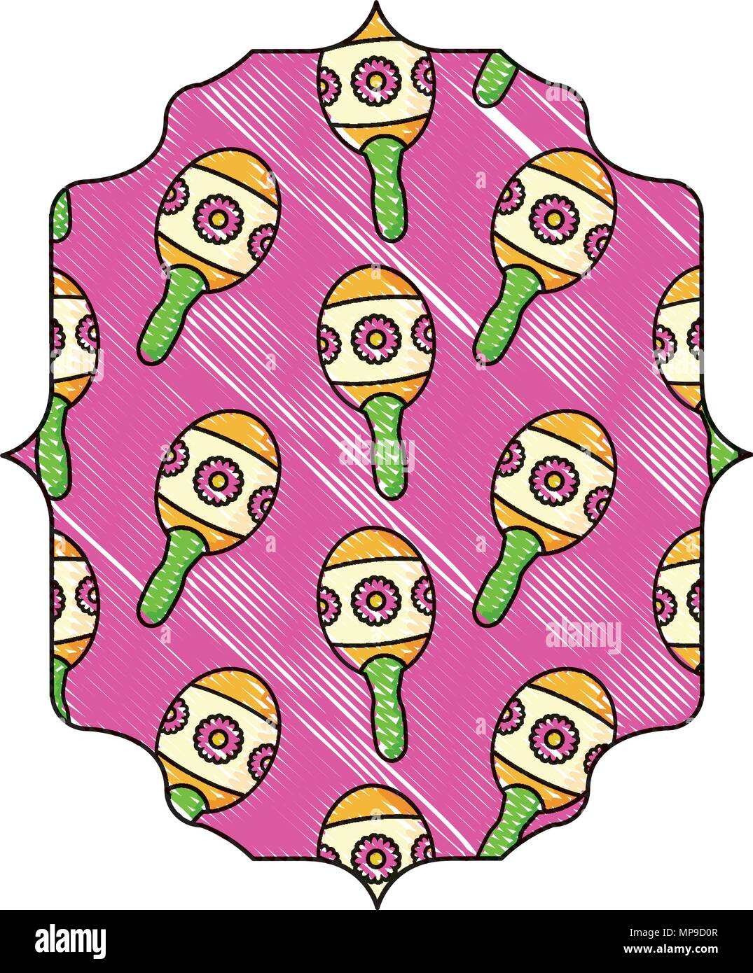 arabic frame with Mexican maracas pattern over white background, vector illustration - Stock Image