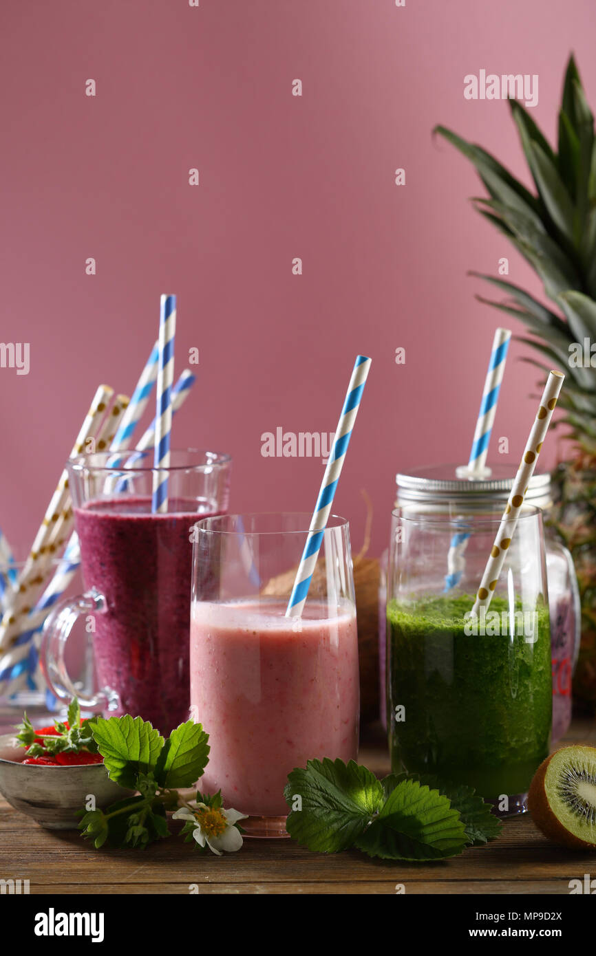 Three fresh beverages, summer drink - Stock Image
