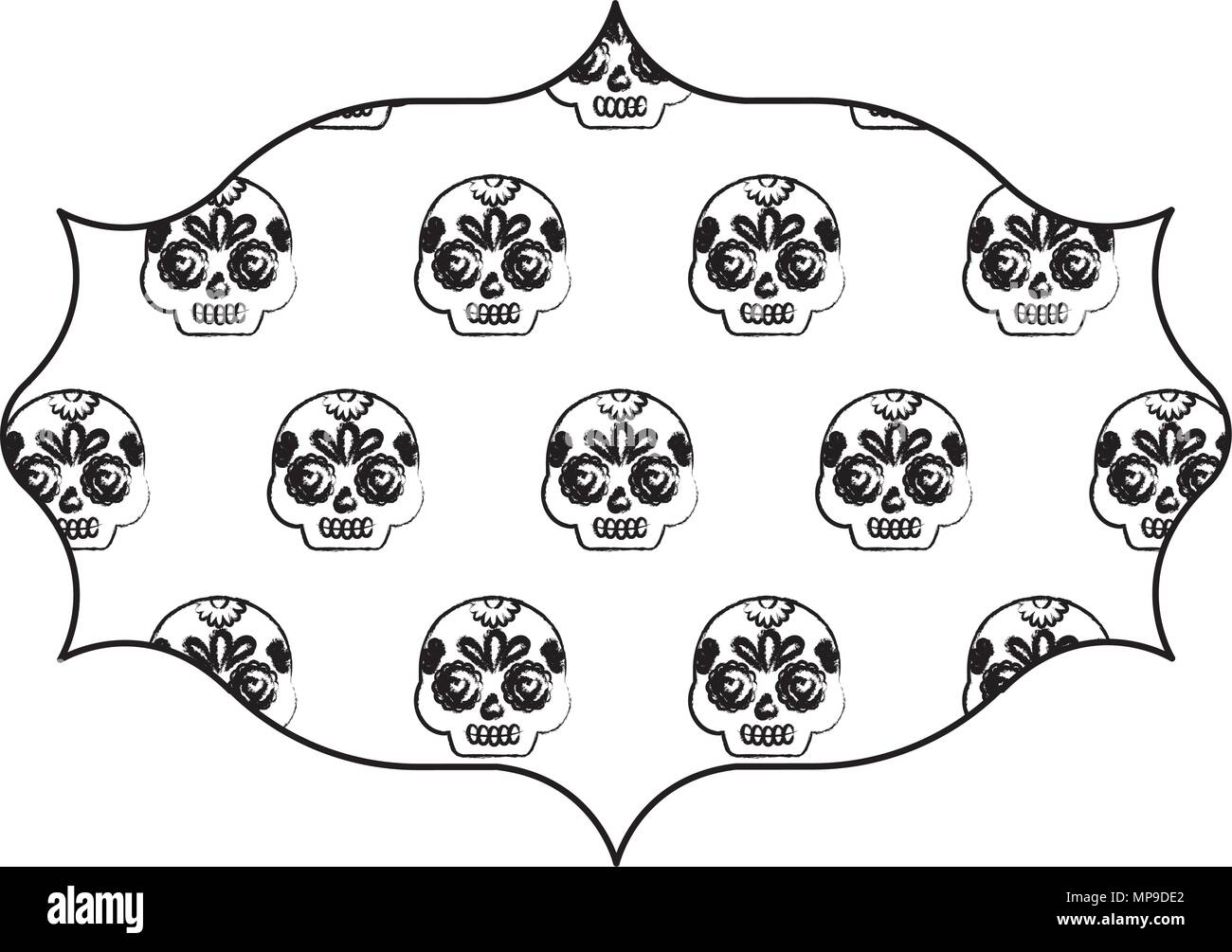 arabic frame with Sugar skulls pattern over white background, vector ...