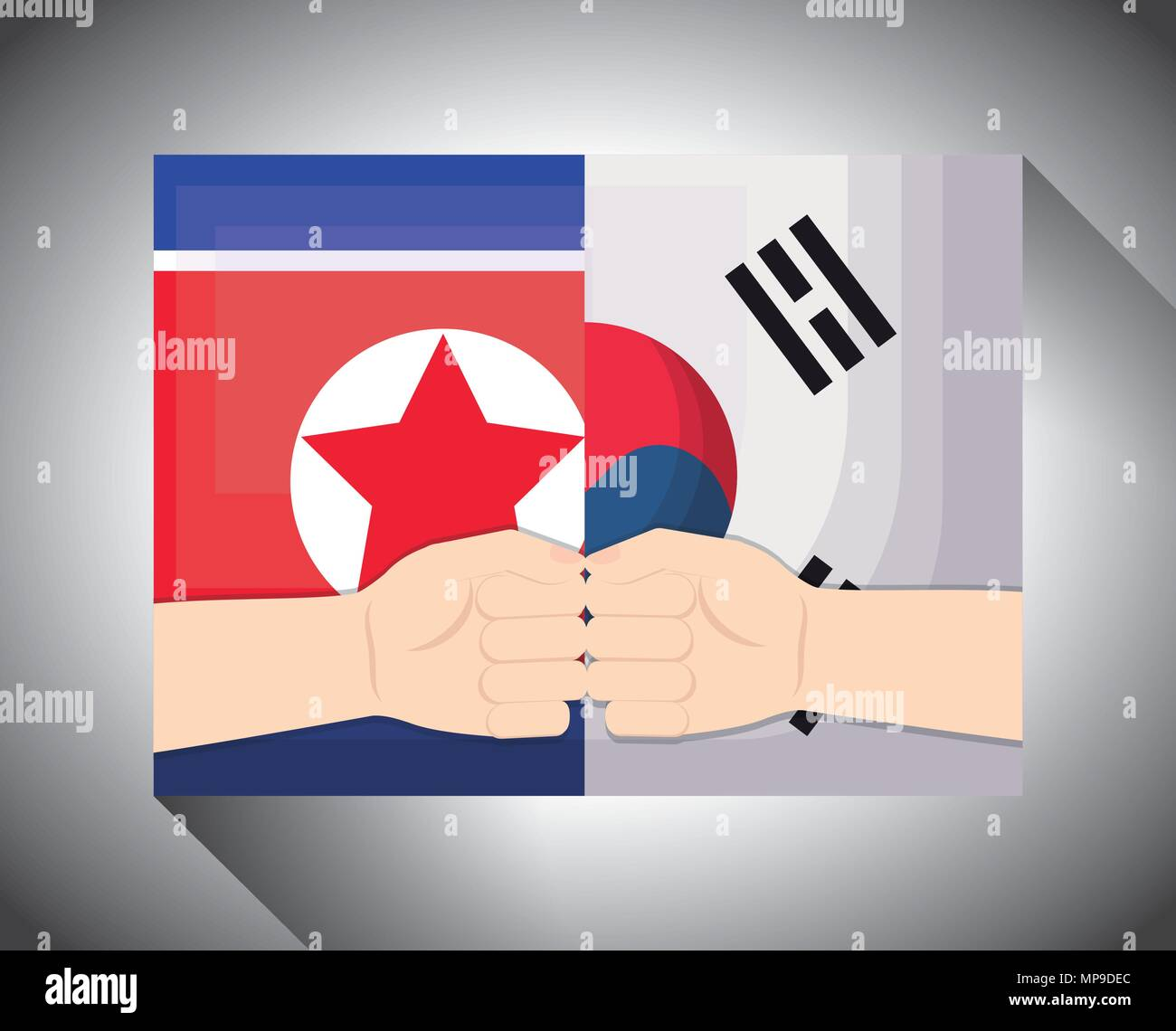 peace negotiation design with north korea and south korea flags and hands over gray background, vector illustration - Stock Image