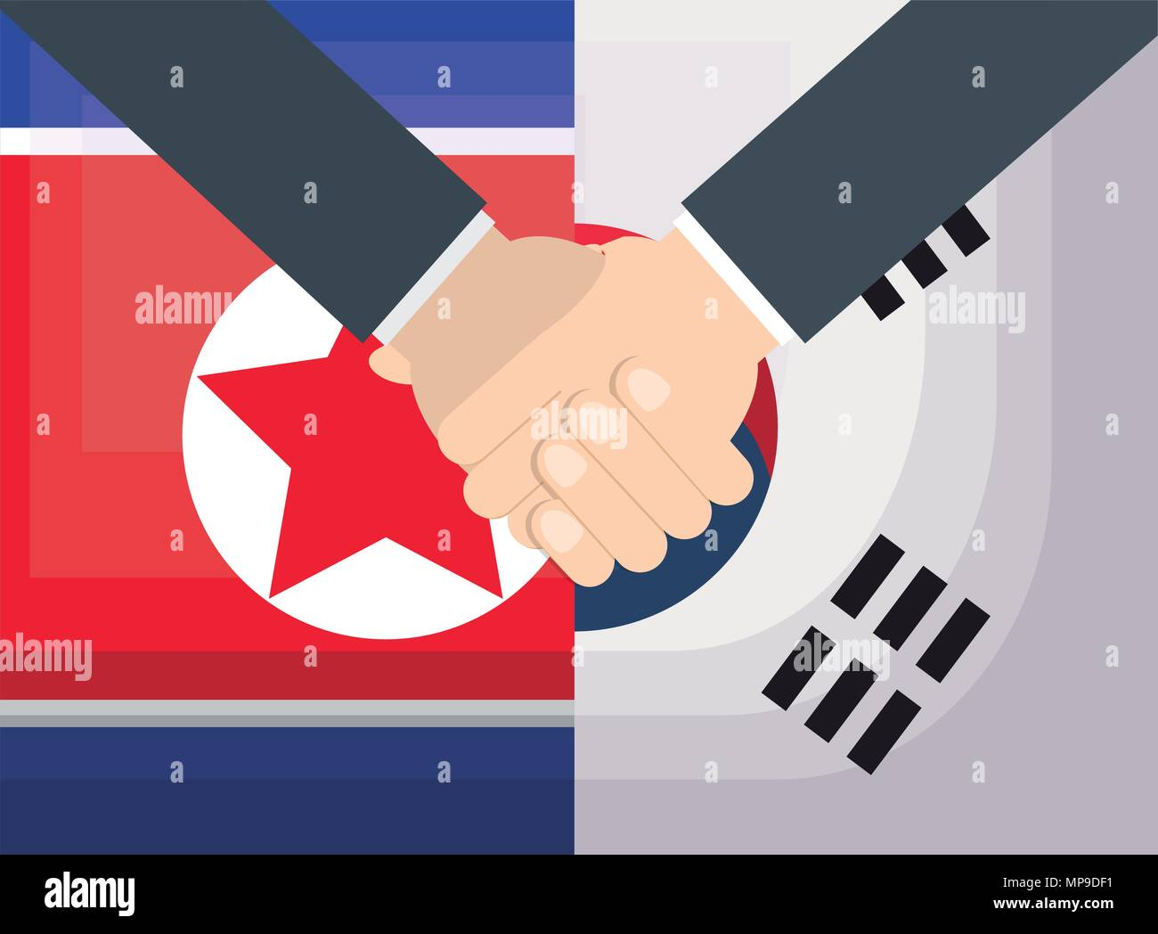 north korea and south korea flags and handshake symbolizes a peace talks, vector illustration Stock Vector