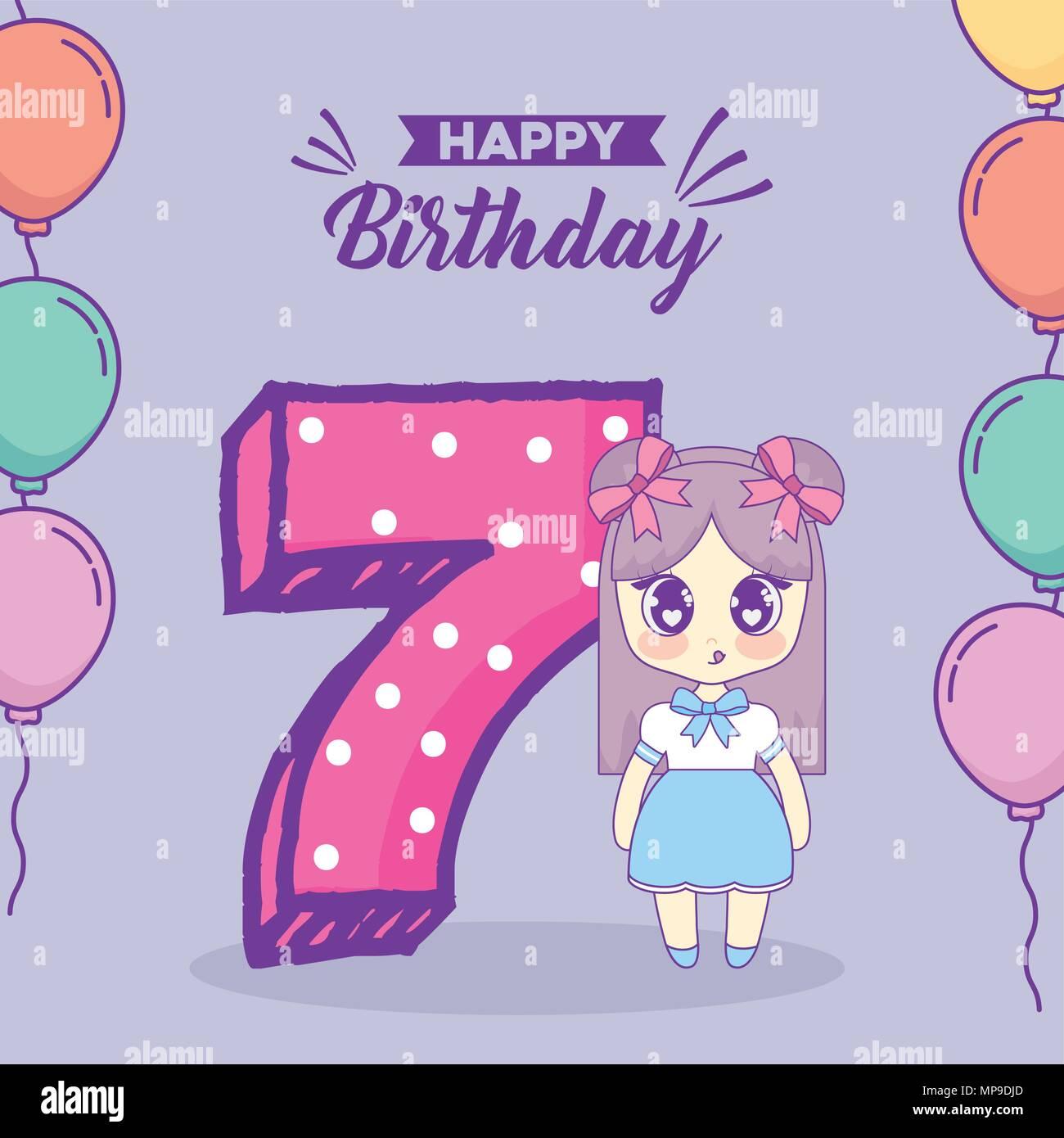 Happy Birthday Design With Kawaii Anime Girl And Number 7