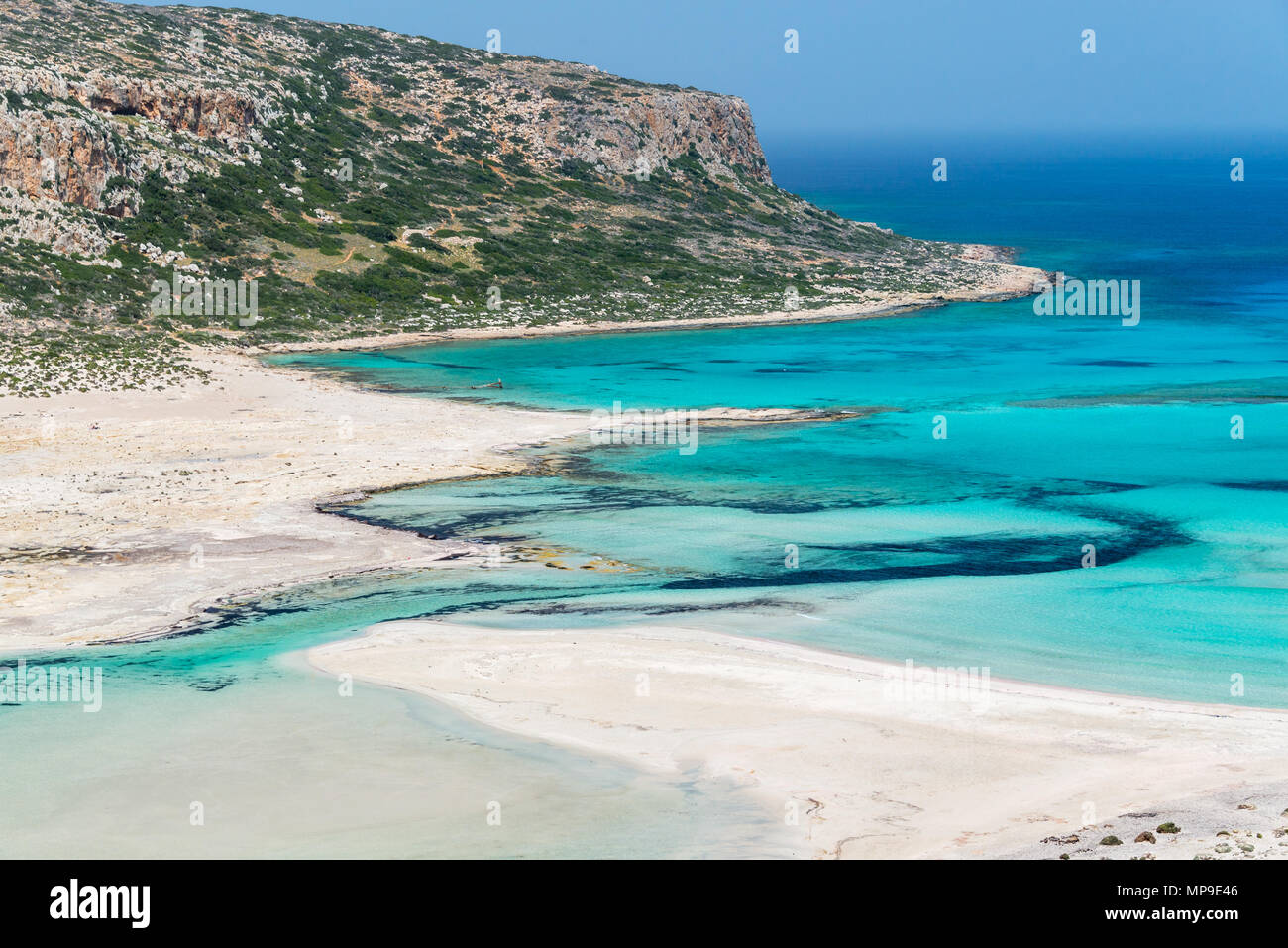 Balos beach and Gramvousa island near Kissamos in Crete, Greece Stock Photo