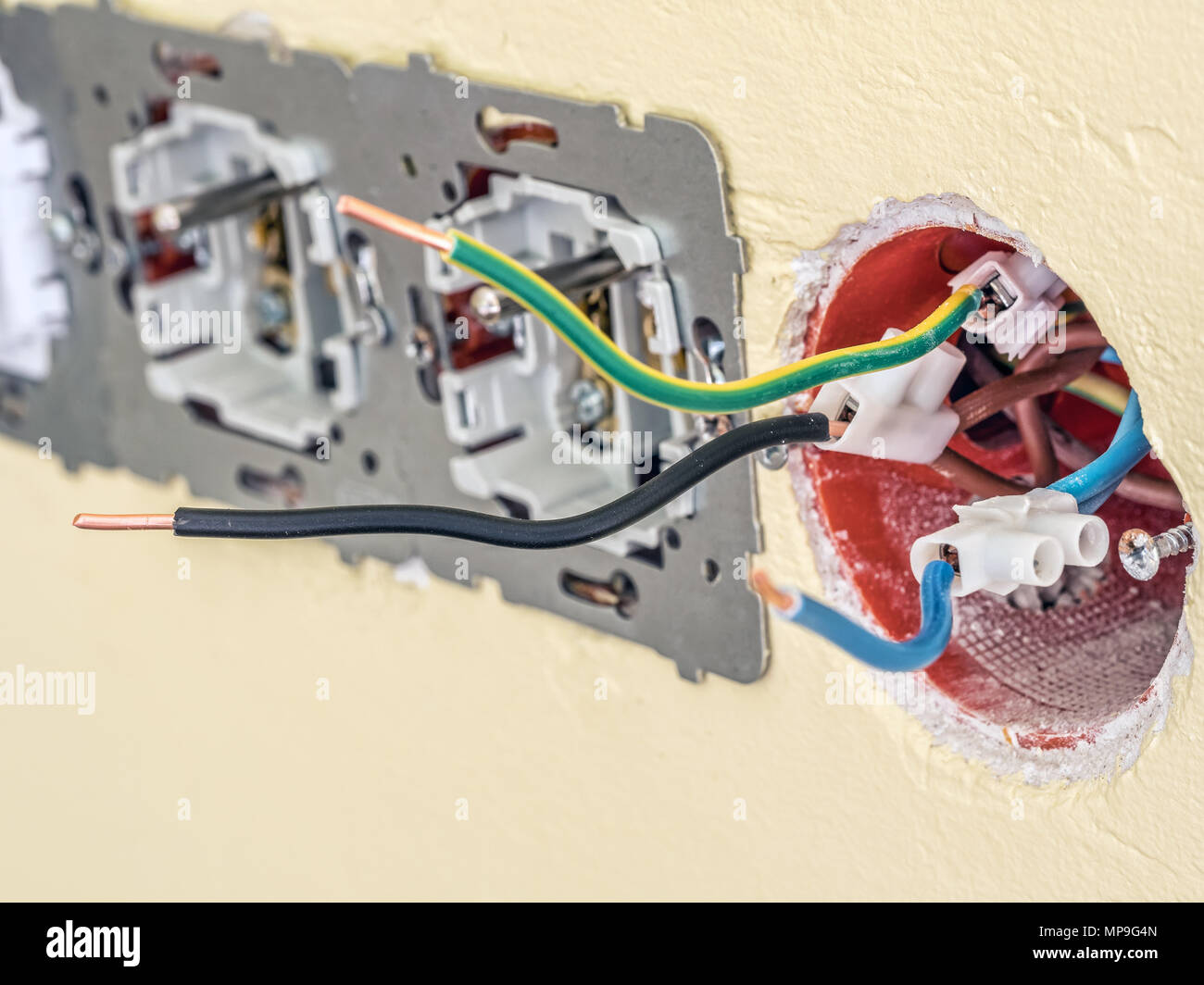 Wiring A Wall Socket Closeup Of Partially Assembled With Live Neutral And Earthing Wires Protruding From The