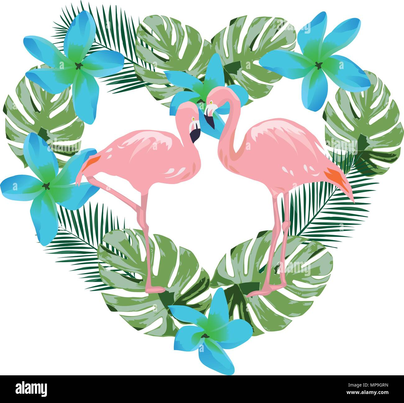 Vector Illustration Of A Flamingo And Blue Tropical Flowers And Palm