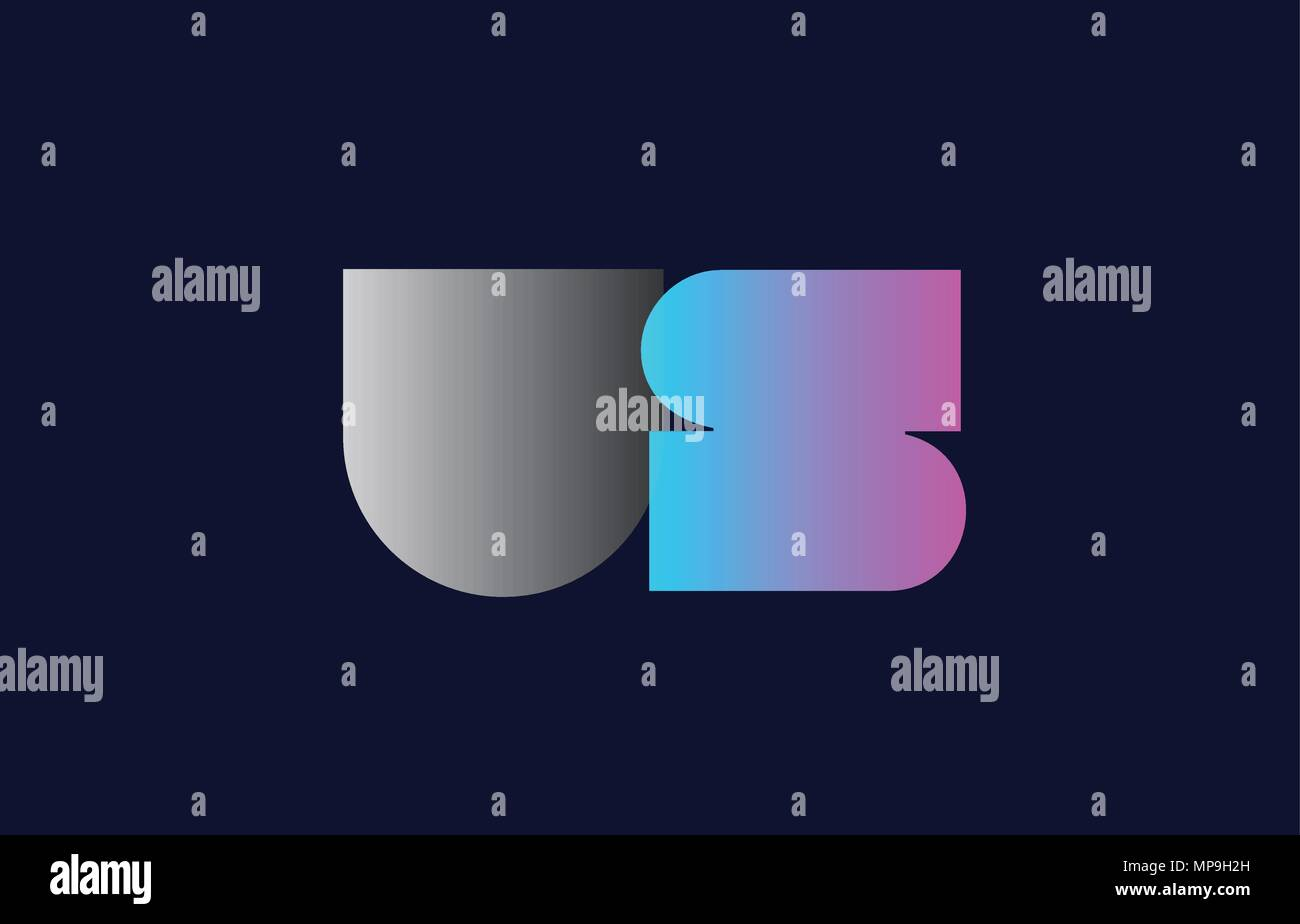 initial alphabet letter us u s logo combination in pink blue and grey colors suitable for business and corporate identity - Stock Vector