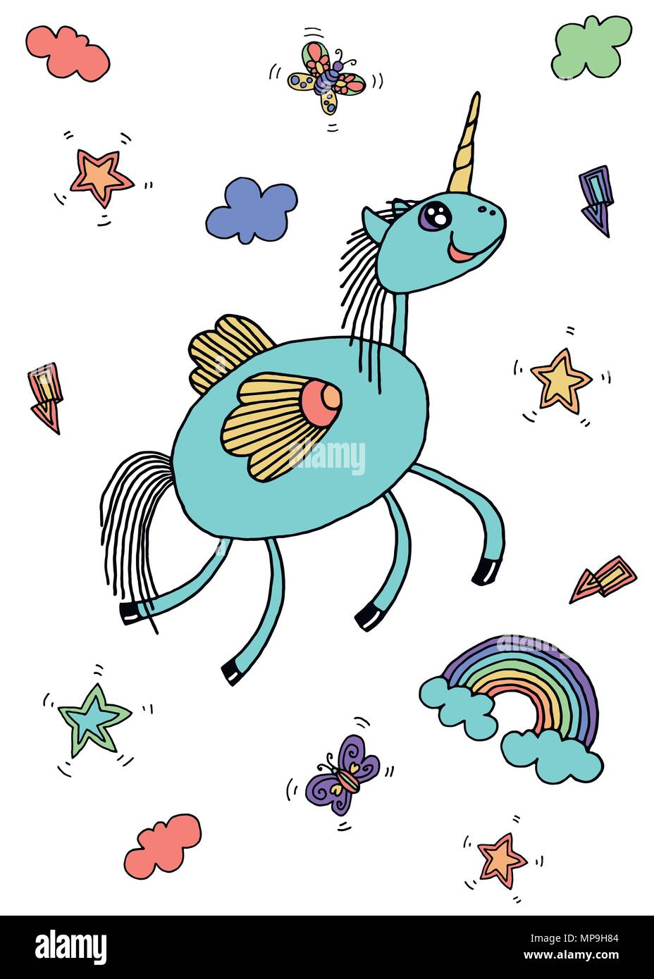 Vector collection of cute unicorns, rainbow, butterfly