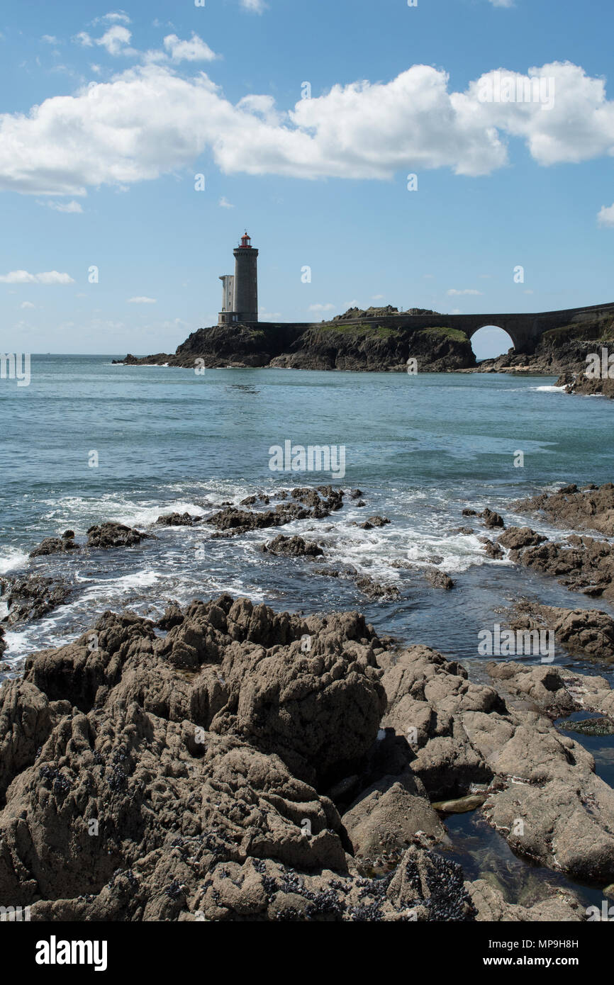 Phare du Petit Minou is a lighthouse near the city of Brest, Brittany, France. - Stock Image