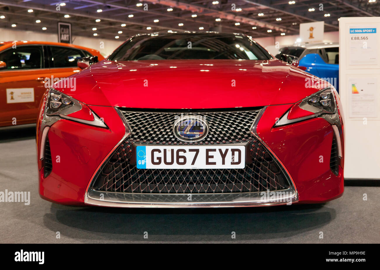Front view of a 2017 Lexus LC  500h Sport +, hybrid electric vehicle, on display at the 2018 London Motor Show Stock Photo